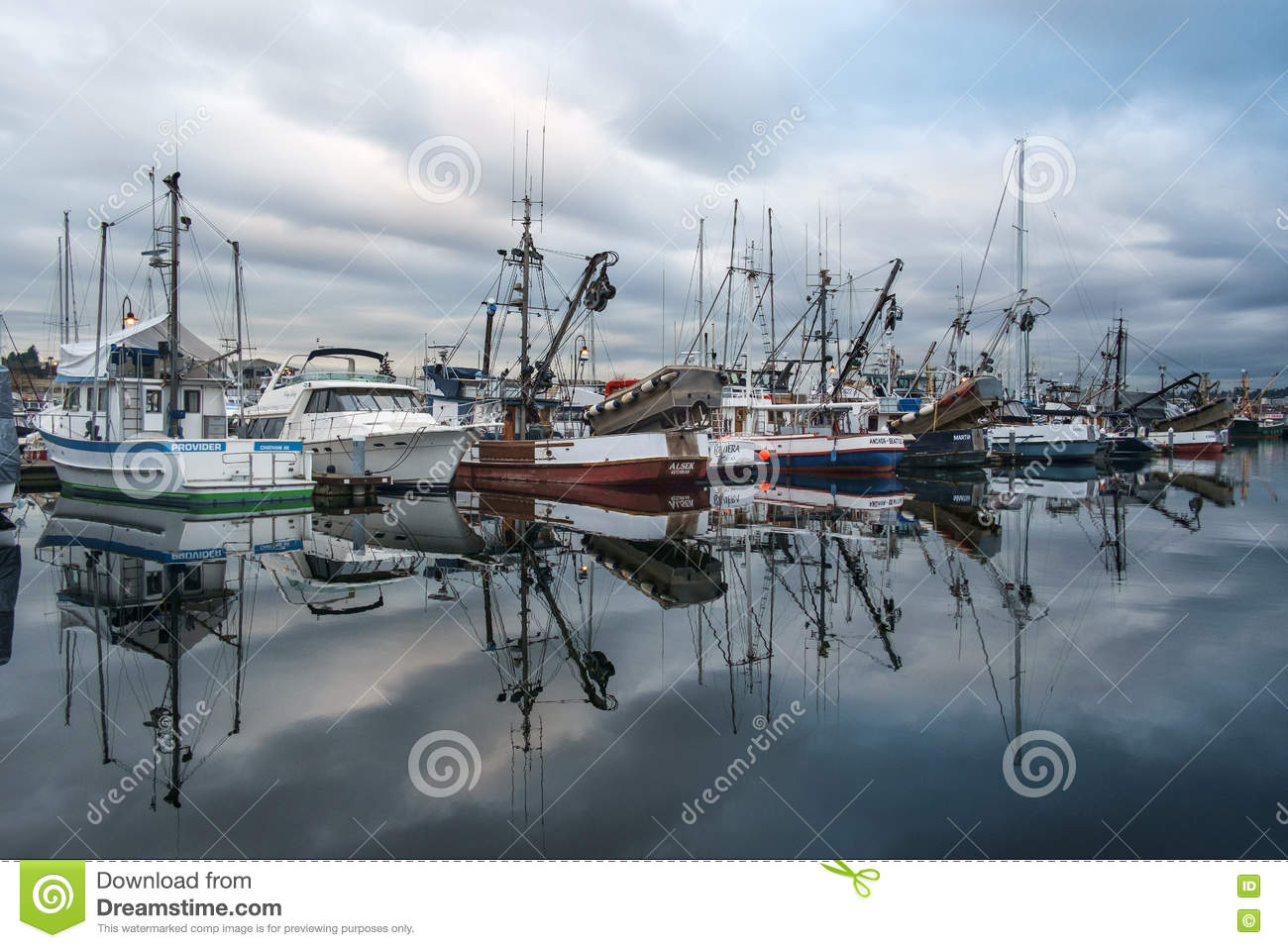 Commercial fishing boats and ballard bridge editorial for Fishing in seattle washington
