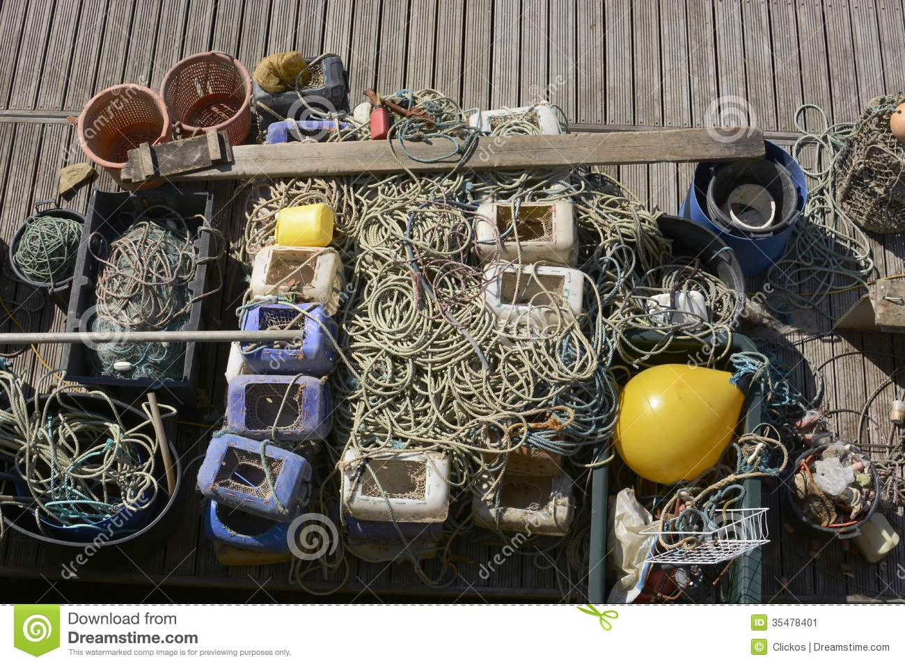 Fishing tackle on a pontoon royalty free stock photo for Commercial fishing supplies