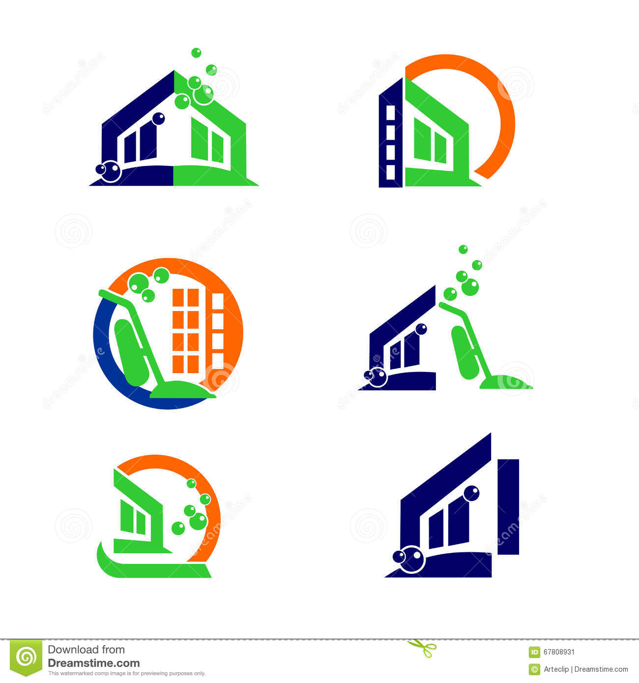 commercial home cleaning logo and apps icon design elements stock royalty free vector
