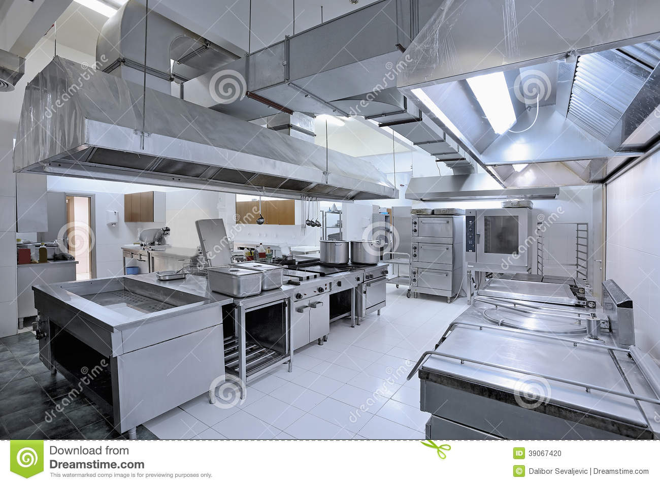 Commercial kitchen stock photo image of nobody catering - One time interior house cleaning ...