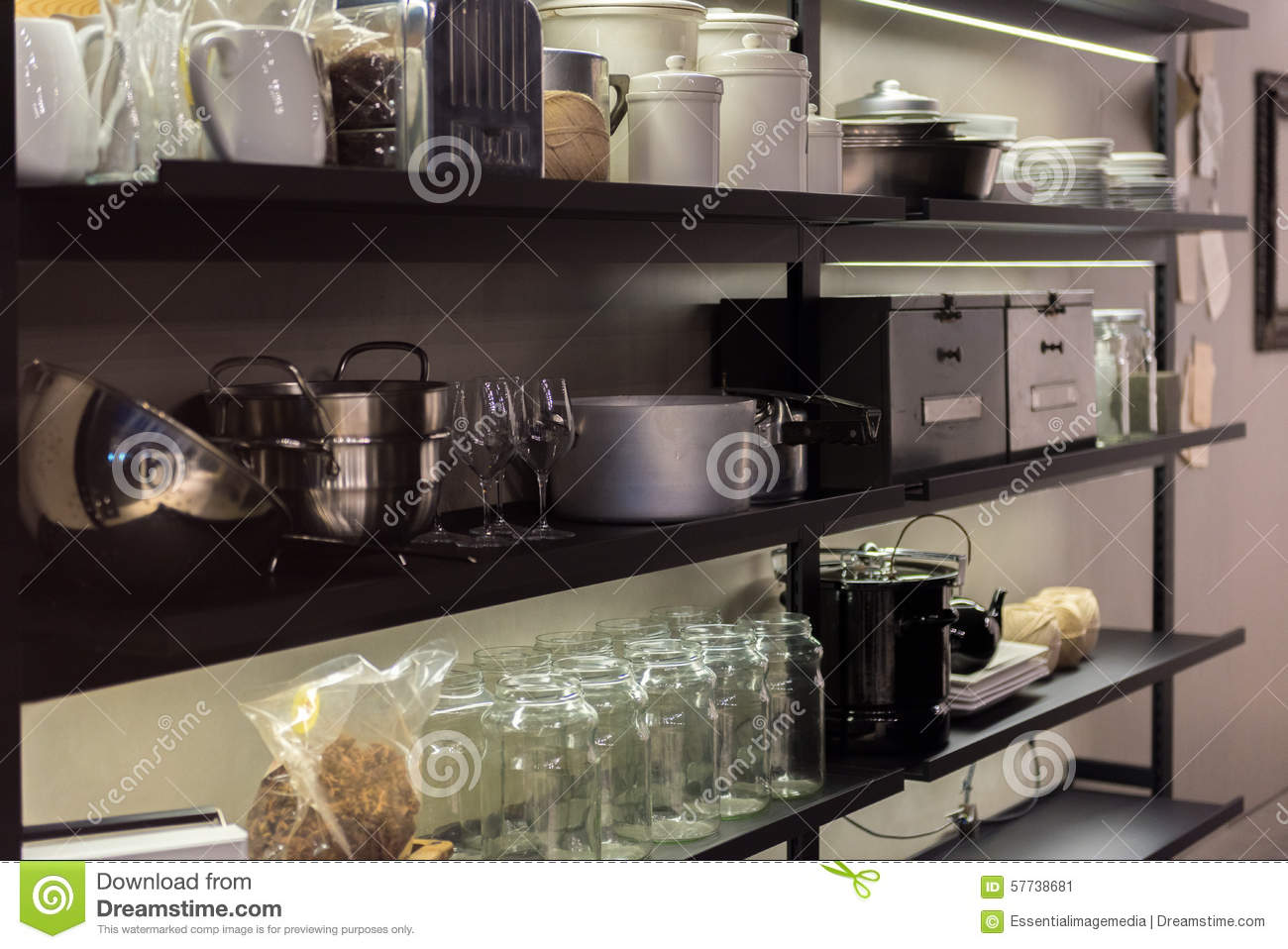 Commercial Kitchen Shelf stock image. Image of cuisine - 57738681