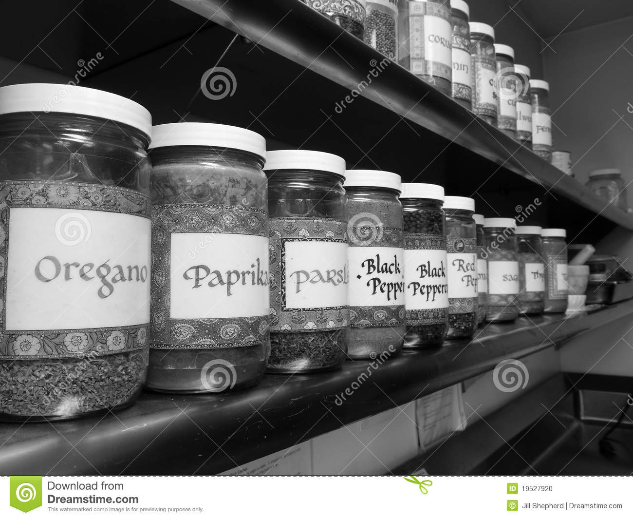 Commercial Kitchen Spice Rack Stock Photo Image 19527920