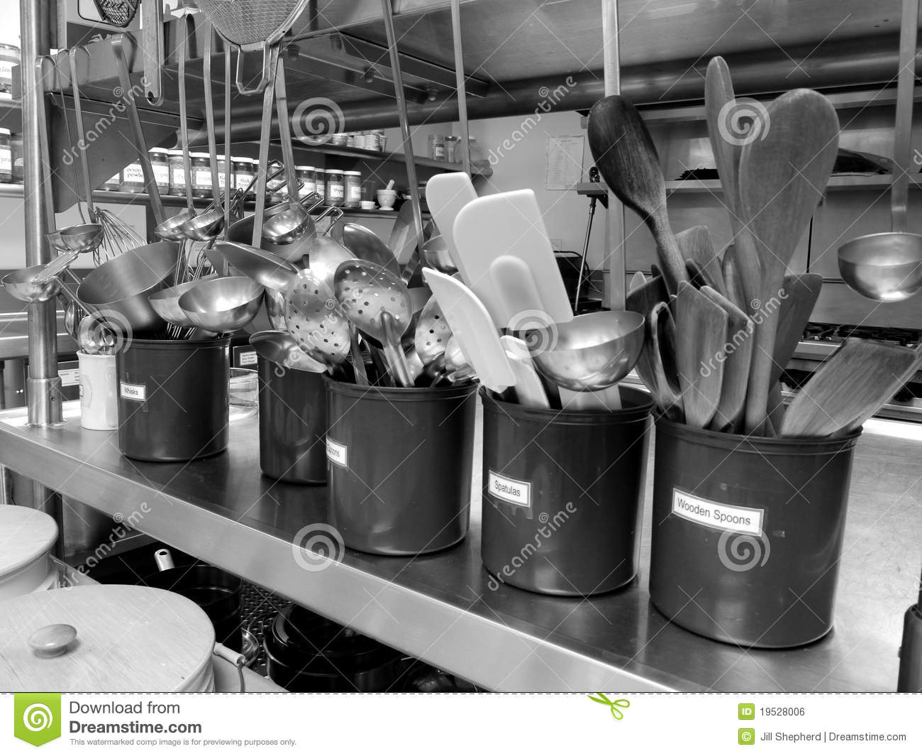 Commercial Kitchen Utensils Royalty Free Stock Image
