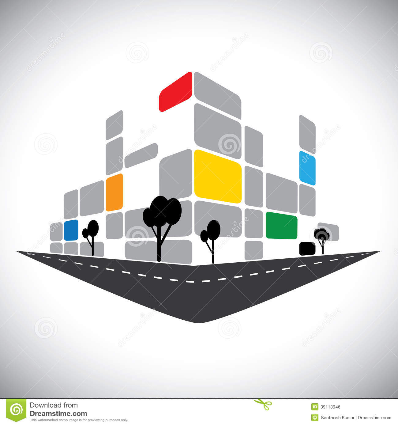 Commercial office high rise building stock vector image for Office design vector