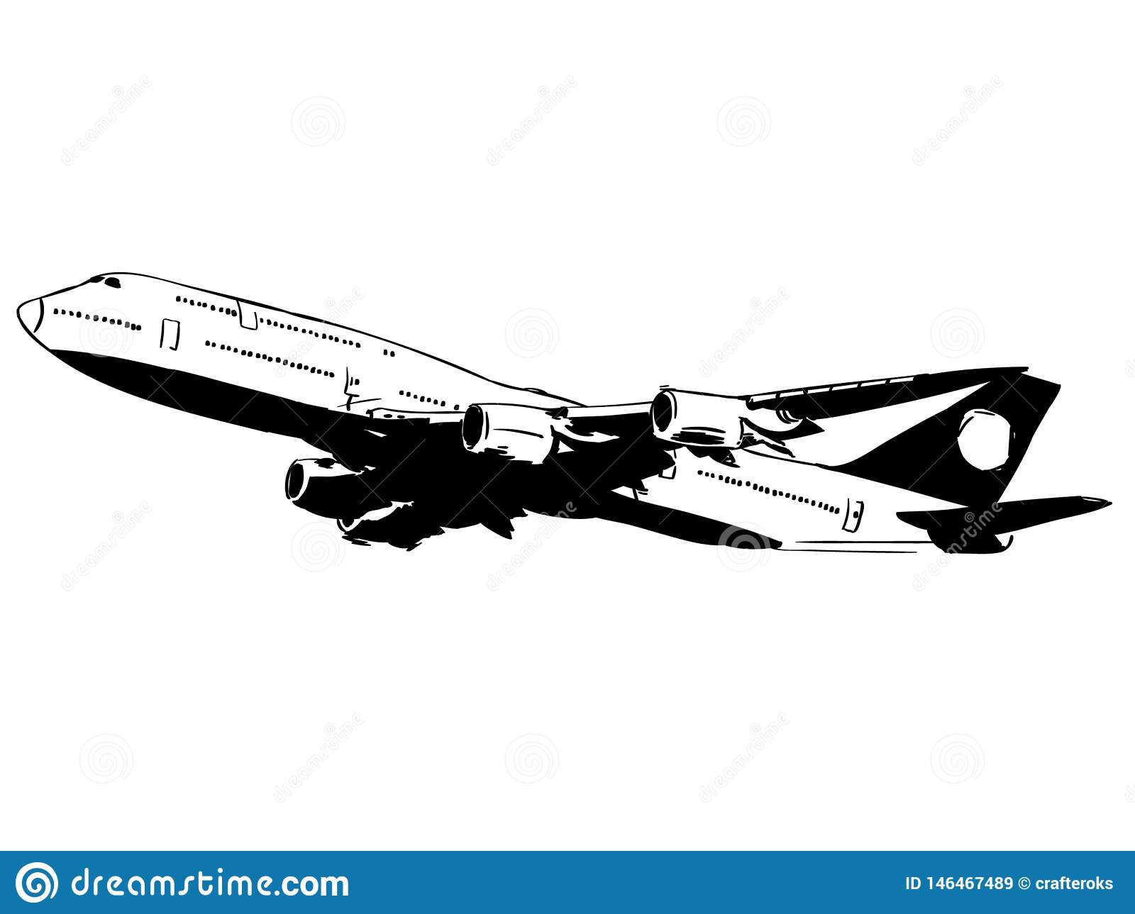 Commercial Plane Vector Eps Hand Drawn Crafteroks Svg Free Free