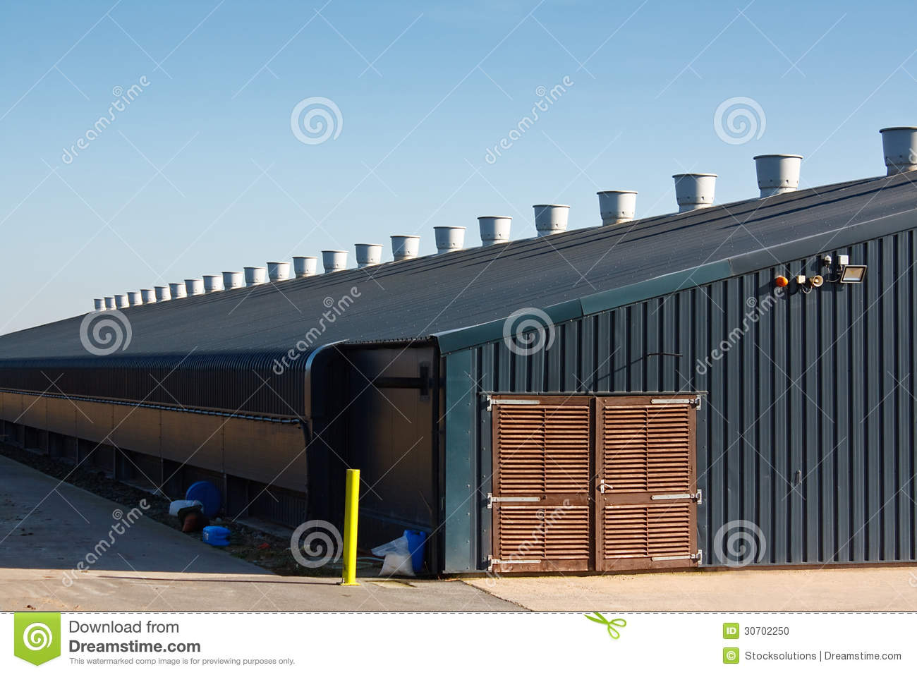 Commercial poultry farming building stock photo image for Production builder