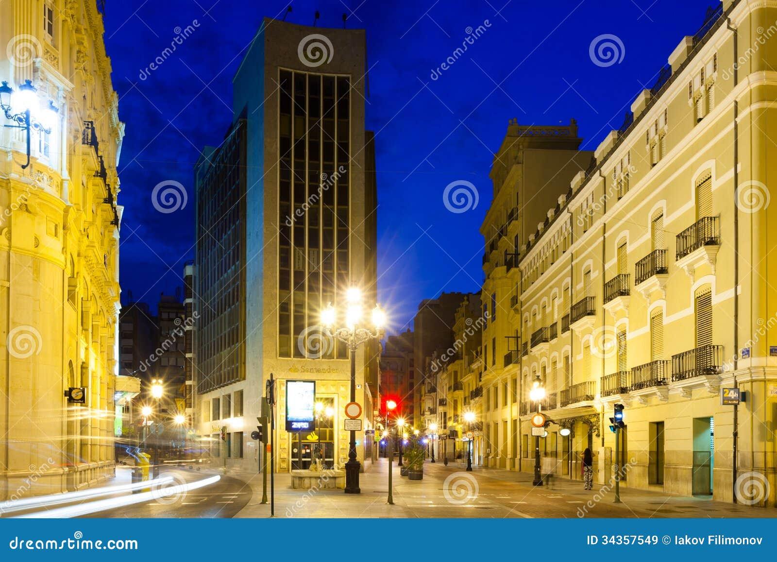 Commercial street in evening castellon de la plana - Muebles en castellon dela plana ...