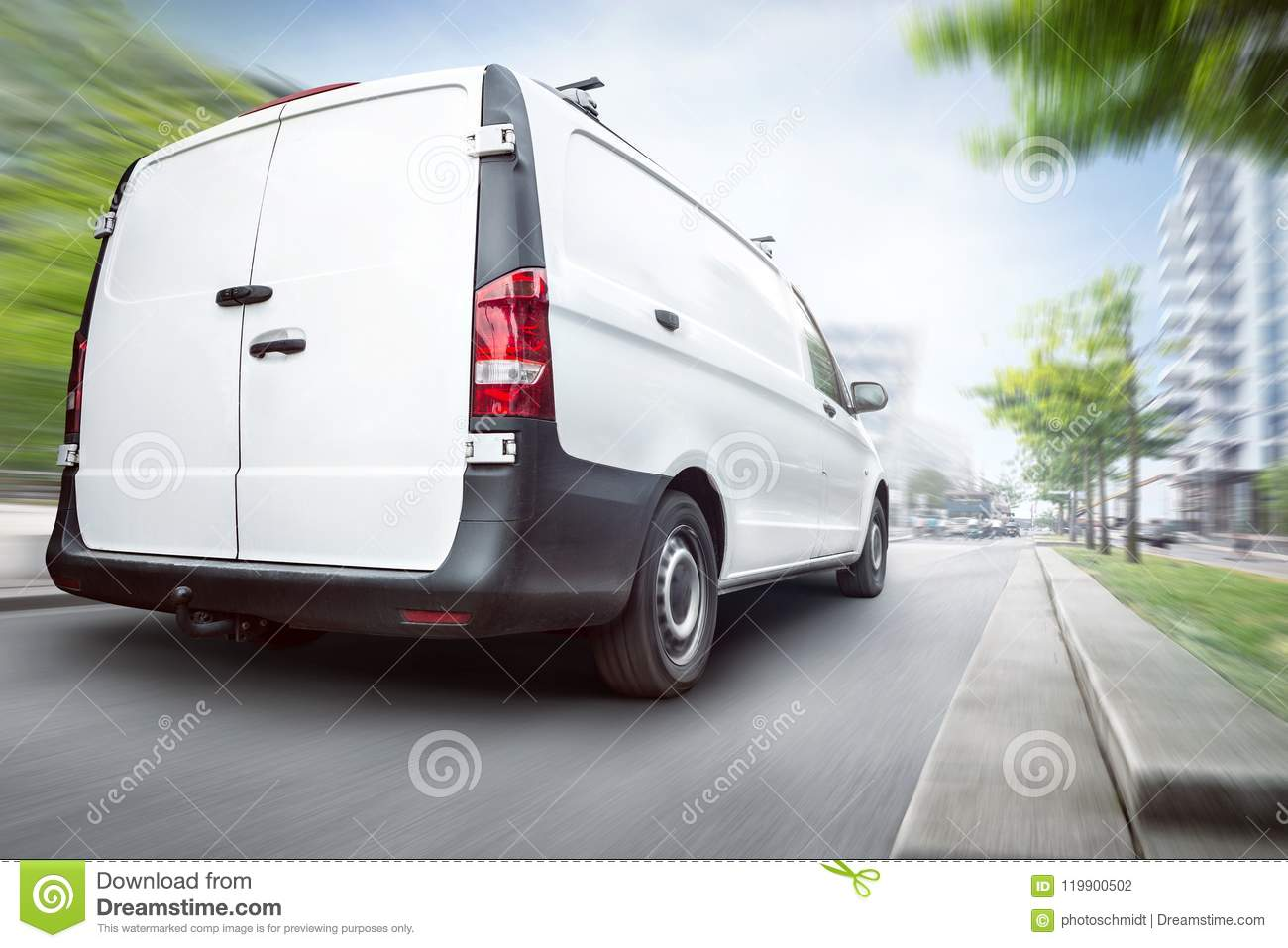 Commercial van driving in the city