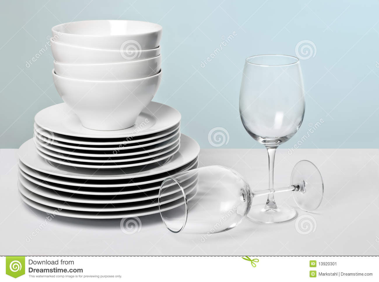 Commercial White Dishes and Crystal Wine Glasses
