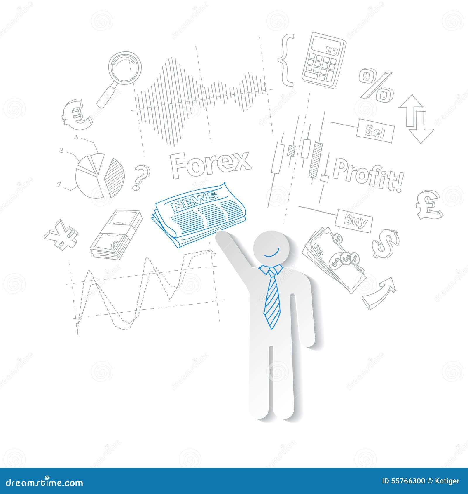 Commerciante dei forex e commercio di riserva di simbolo di notizie, vettore