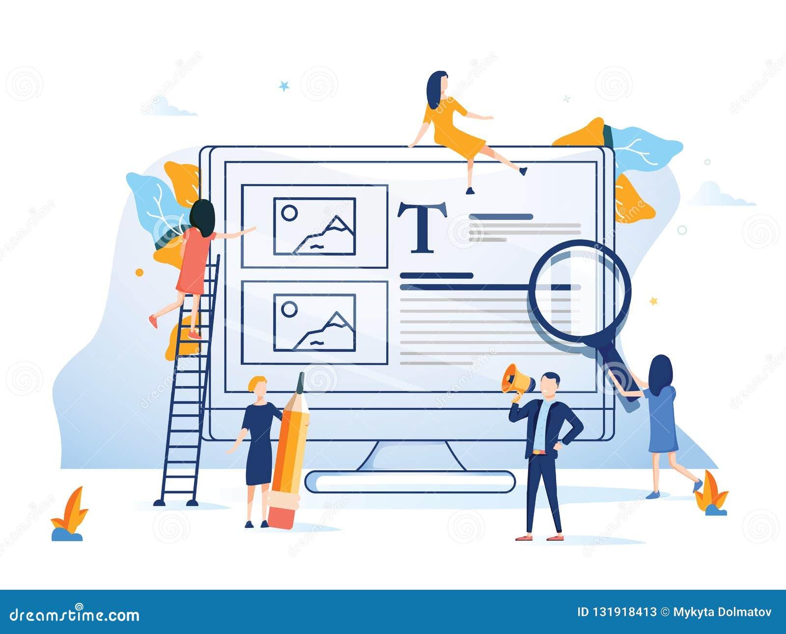 Commercieel team die een de stijl kleurrijke illustratie voorstellen van het website vlakke ontwerp De technologie van achtergron