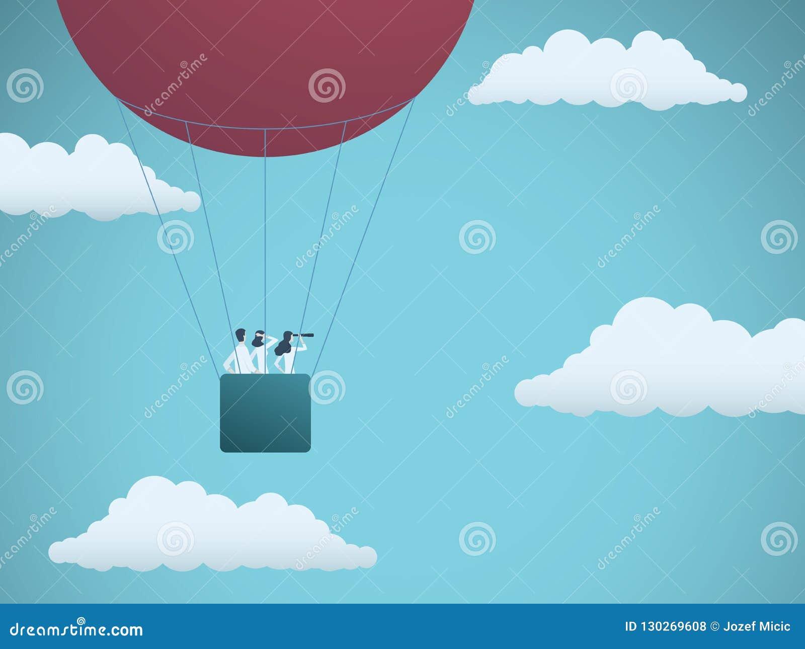 Commercieel team die in hete luchtballon vliegen Symbool van bedrijfsvisie, opdracht, strategie en groepswerk