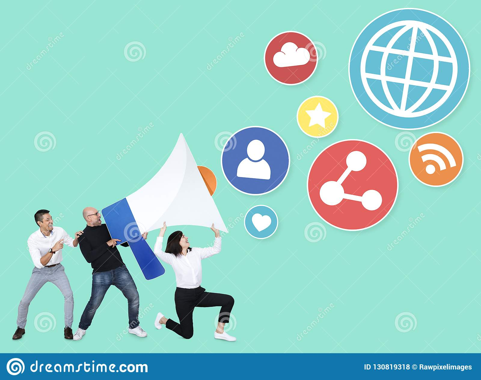 Commercieel team met Internet-veiligheid