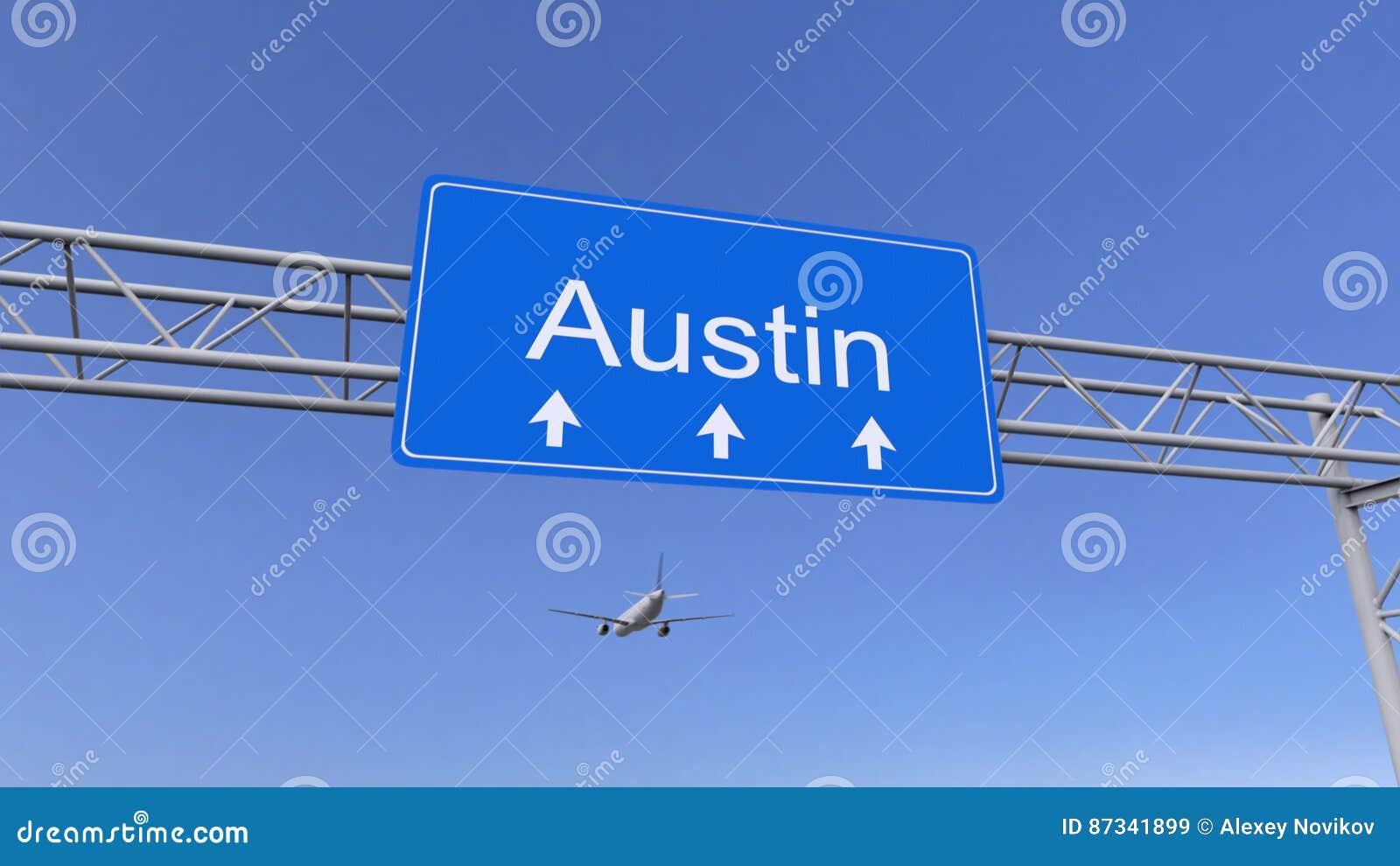 Commercieel vliegtuig die aan Austin-luchthaven aankomen Het reizen naar het conceptuele 3D teruggeven van Verenigde Staten