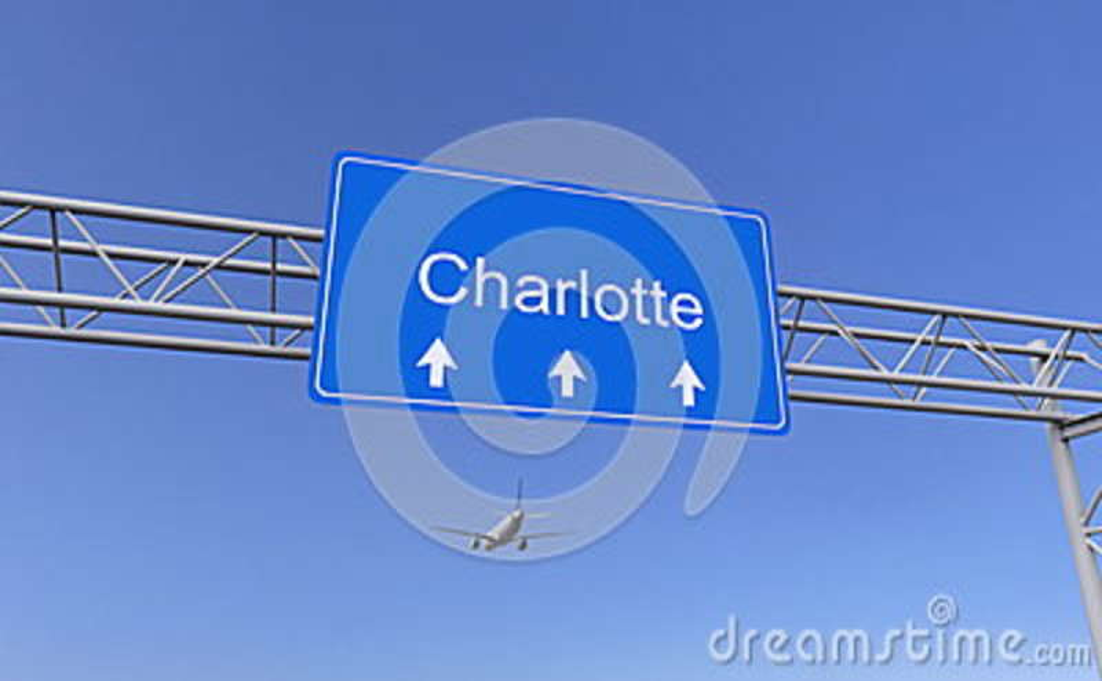 Commercieel vliegtuig die aan de luchthaven van Charlotte aankomen Het reizen naar het conceptuele 3D teruggeven van Verenigde St
