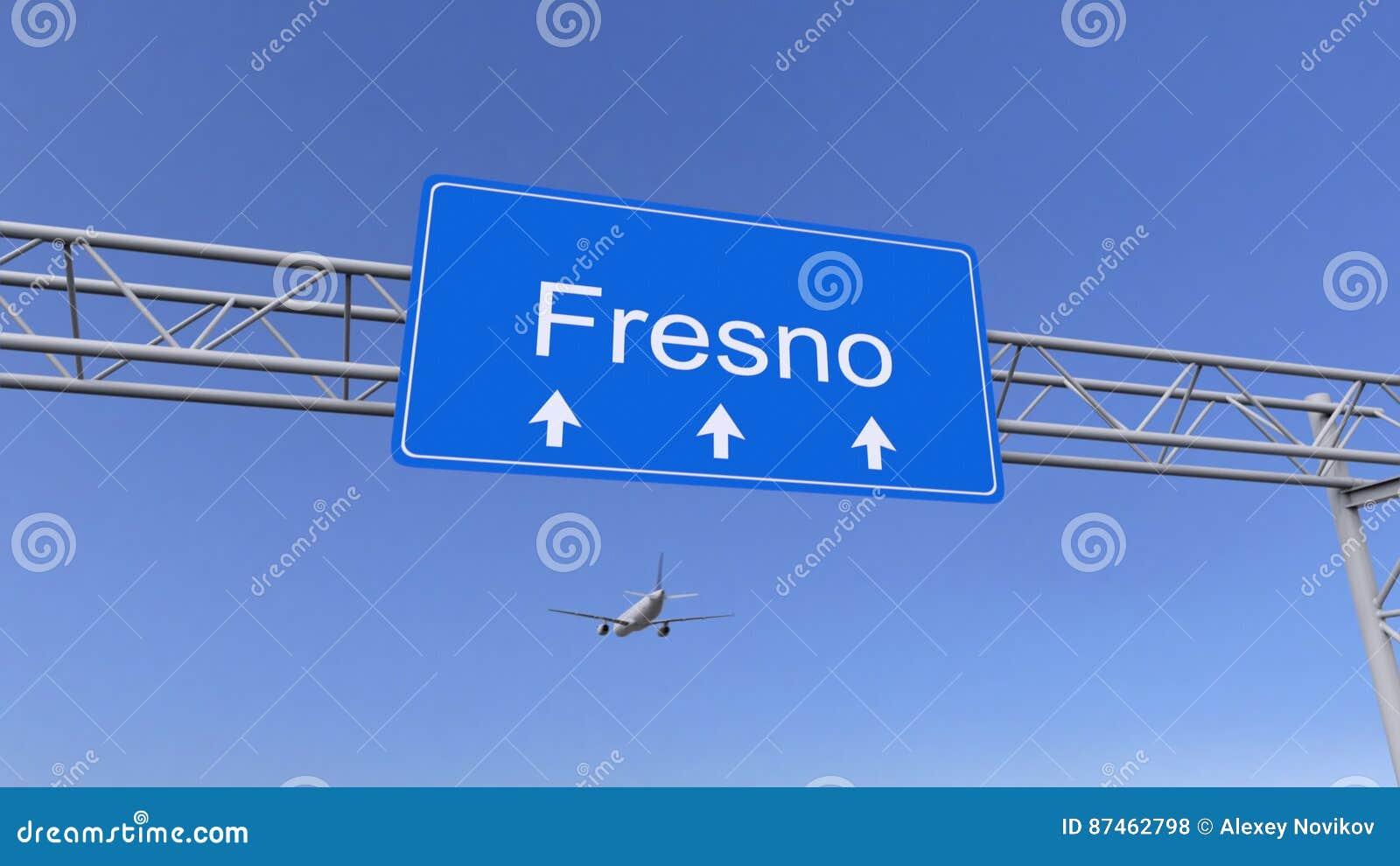 Commercieel vliegtuig die aan de luchthaven van Fresno aankomen Het reizen naar het conceptuele 3D teruggeven van Verenigde State