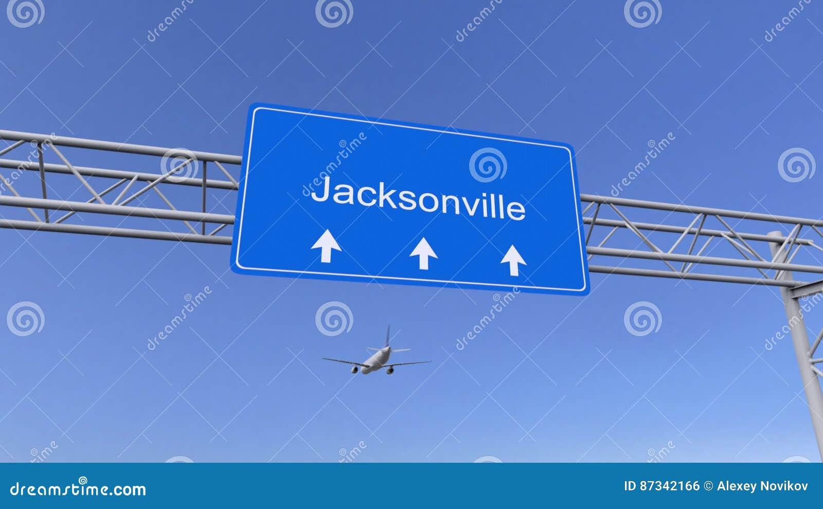Commercieel vliegtuig die aan de luchthaven van Jacksonville aankomen Het reizen naar het conceptuele 3D teruggeven van Verenigde