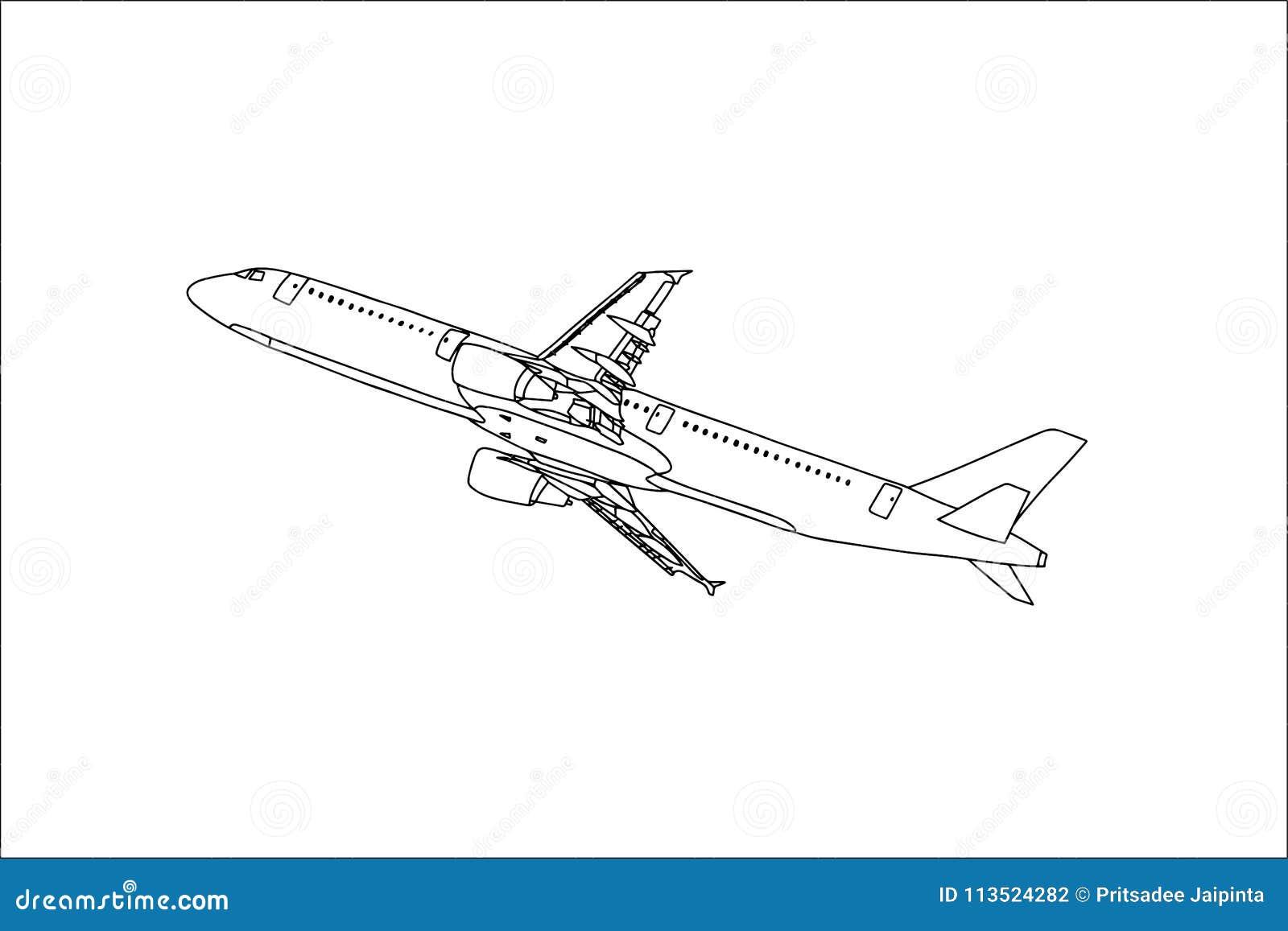 Commercieel Vliegtuigoverzicht die in de Hemel vliegen Vector