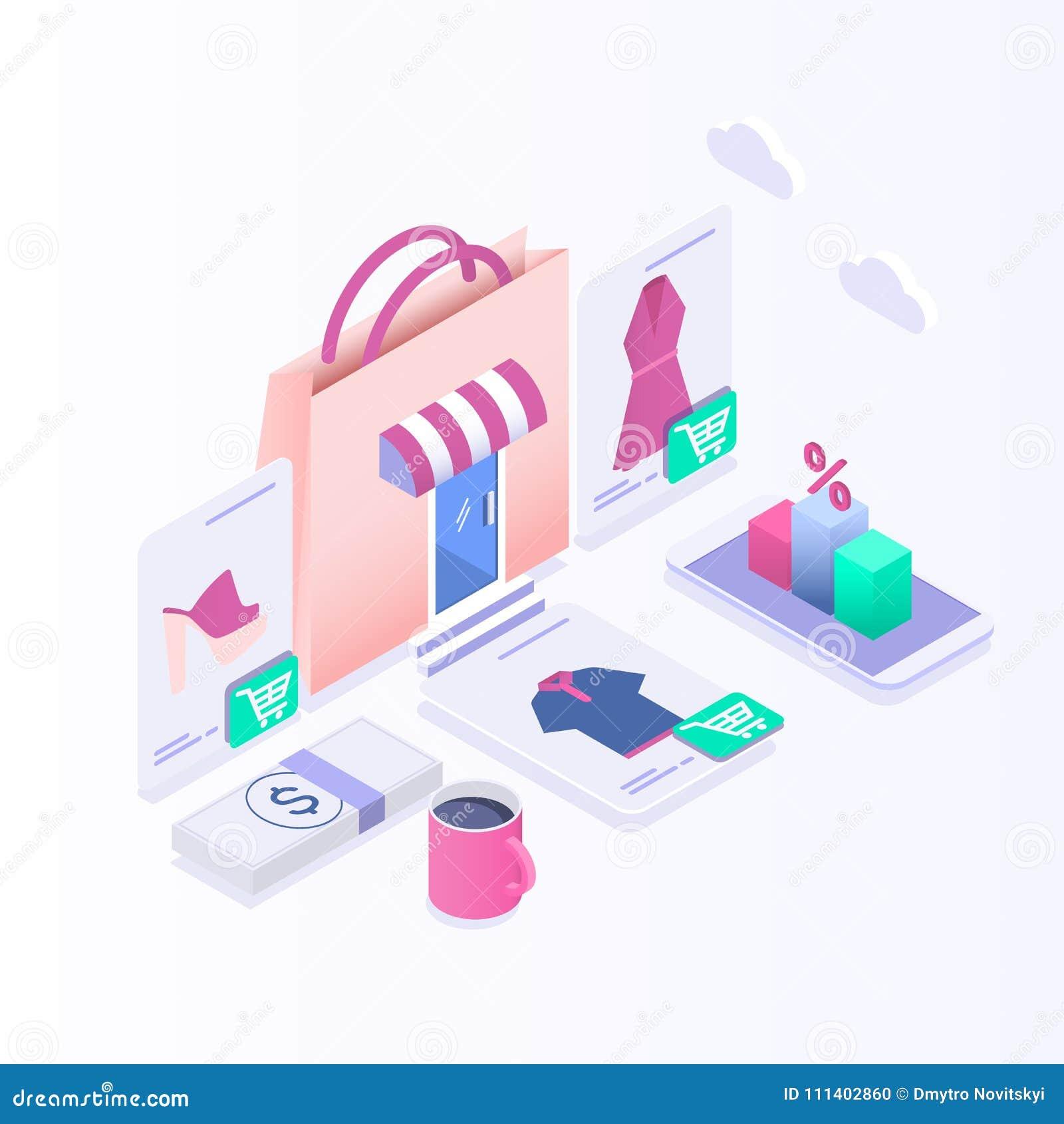 667c2d5ca2 Commercio elettronico isometrico, acquisto online e vendita al dettaglio,  negozi elettronici, Internet del concetto di cose