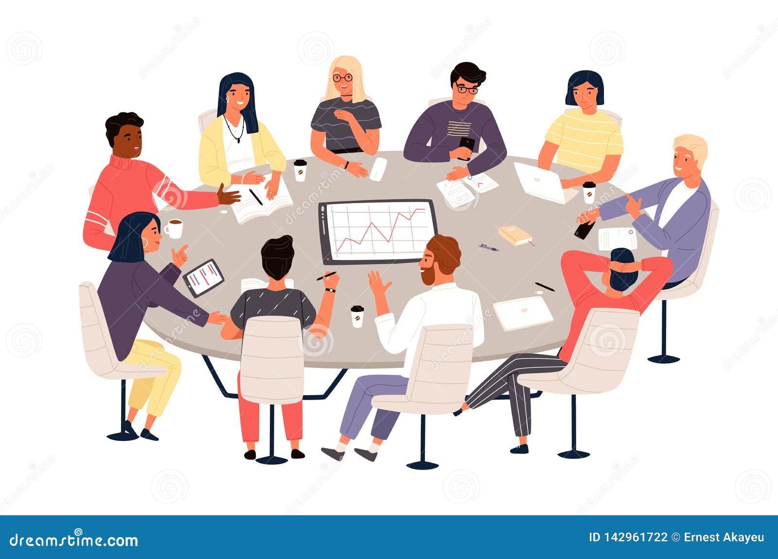 Commis ou coll?gues s asseyant ? la table ronde et discutant des id?es ou faisant un brainstorm R?union d affaires, n?gociation f