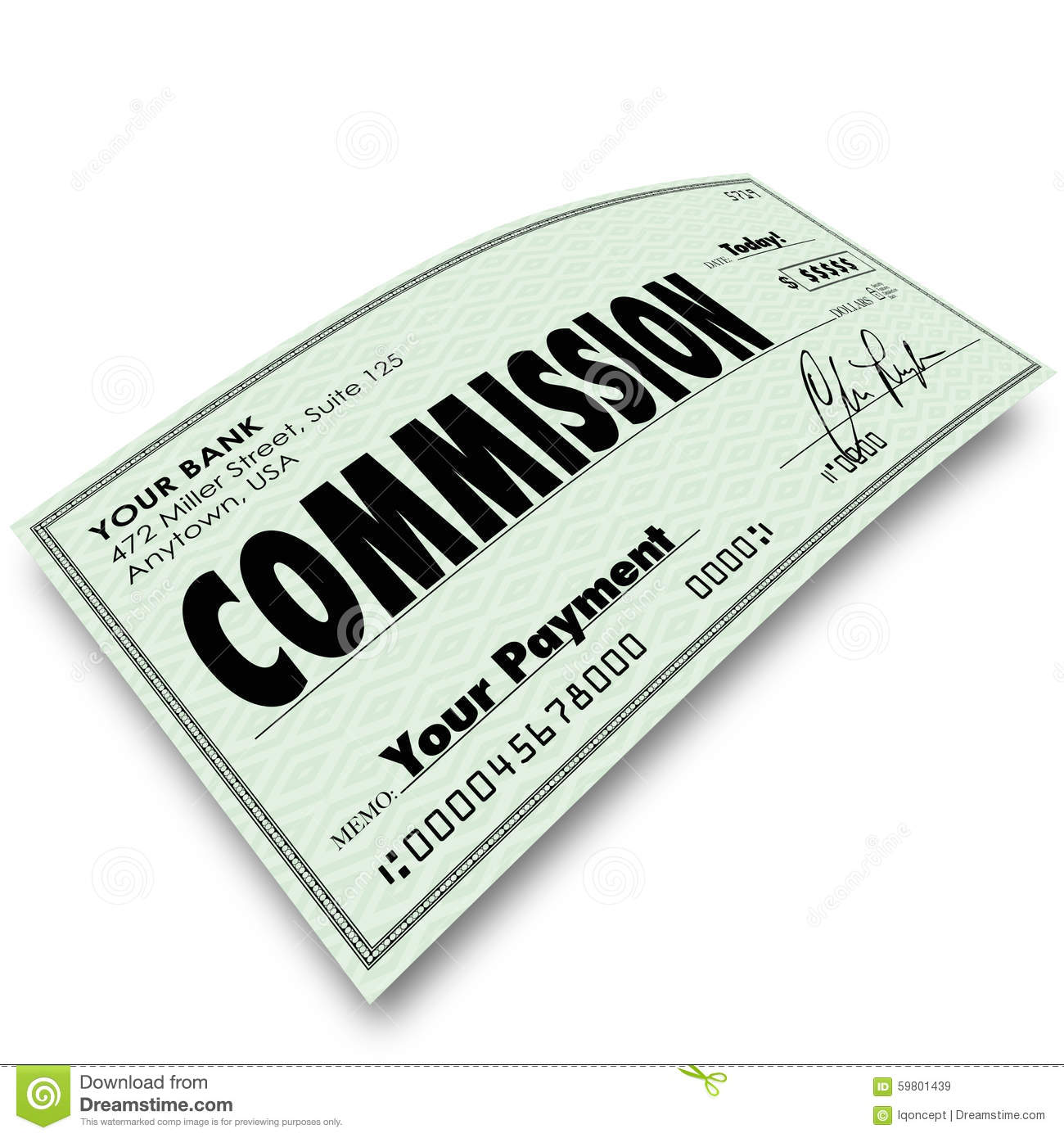 No Credit Check Credit Cards >> Commission Check Sale Compensation Pay Income Money Stock Illustration - Image: 59801439