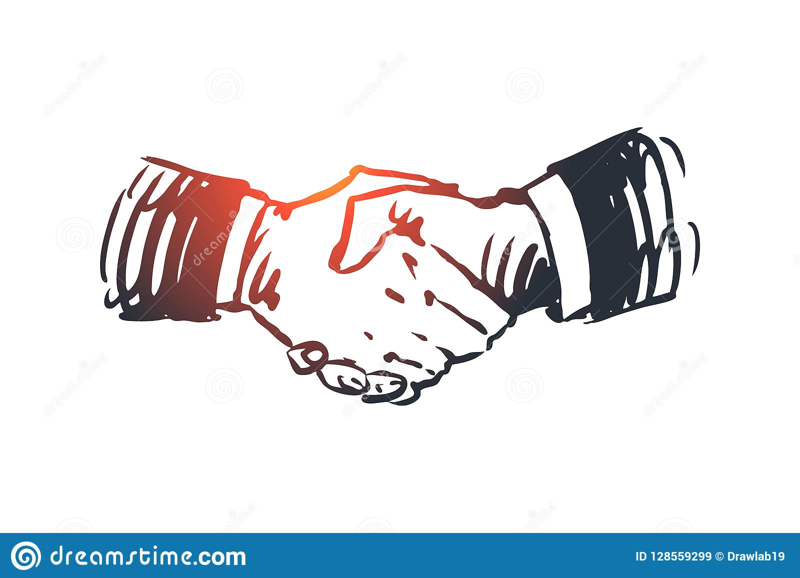 Commitment, hand, deal, business, partnership concept. Hand drawn isolated vector.
