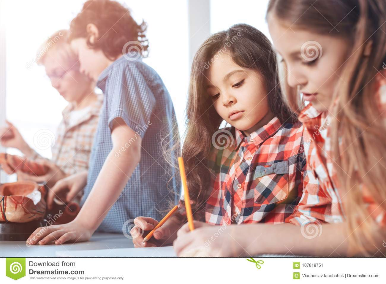 Committed bright ladies writing down the assignment stock image serious approach ambitious adorable lovely kids studying human anatomy and working on a group project while noting down some data ccuart Gallery