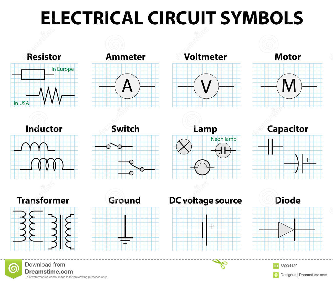 common circuit diagram symbols electronic symbol electric symbol element set pictogram used to represent electrical electronic 68934130 common circuit diagram symbols stock vector image 68934130 Basic Electrical Wiring Diagrams at alyssarenee.co