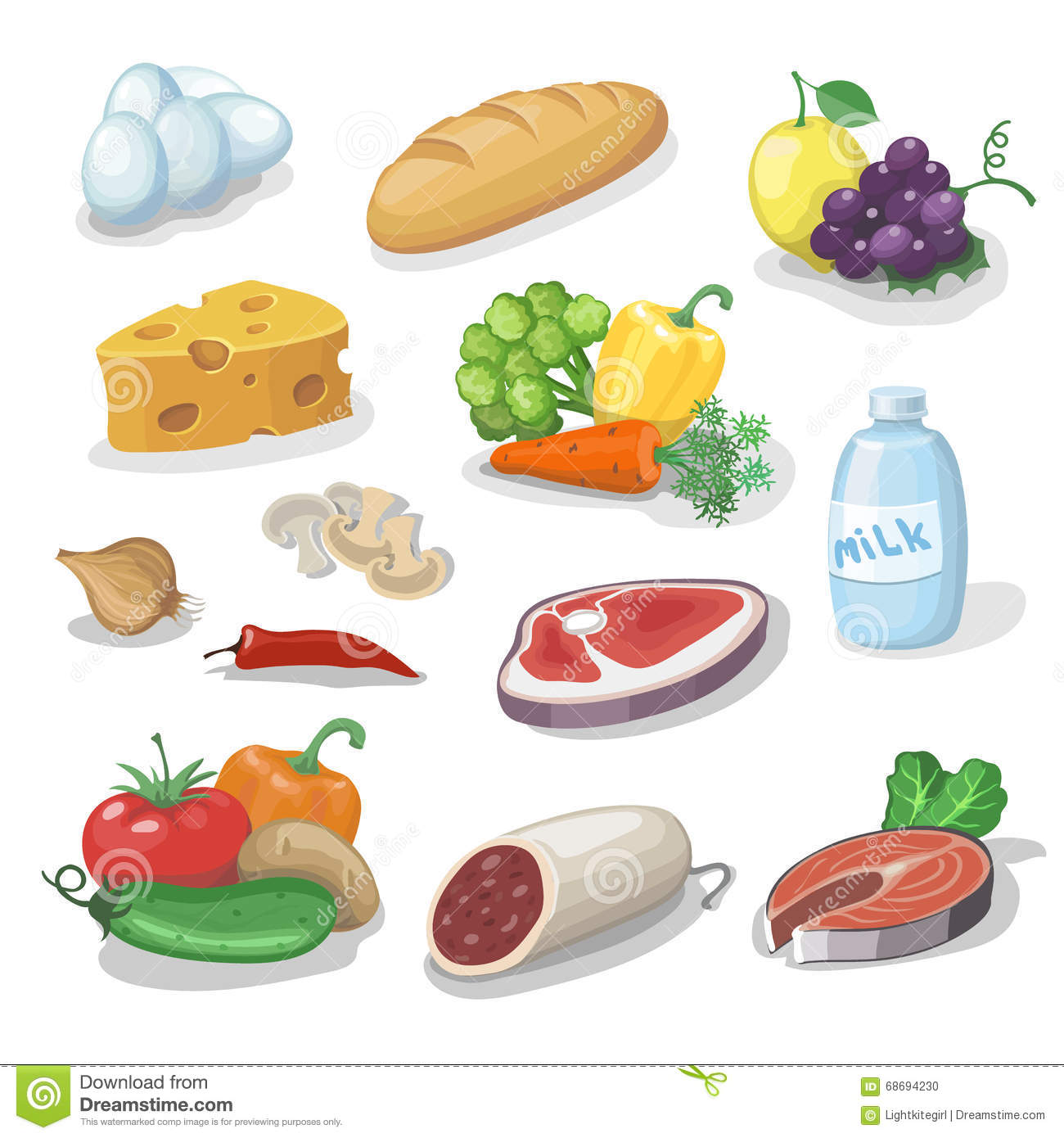 Common everyday food products cartoon icons set provision for Can i eat fish everyday