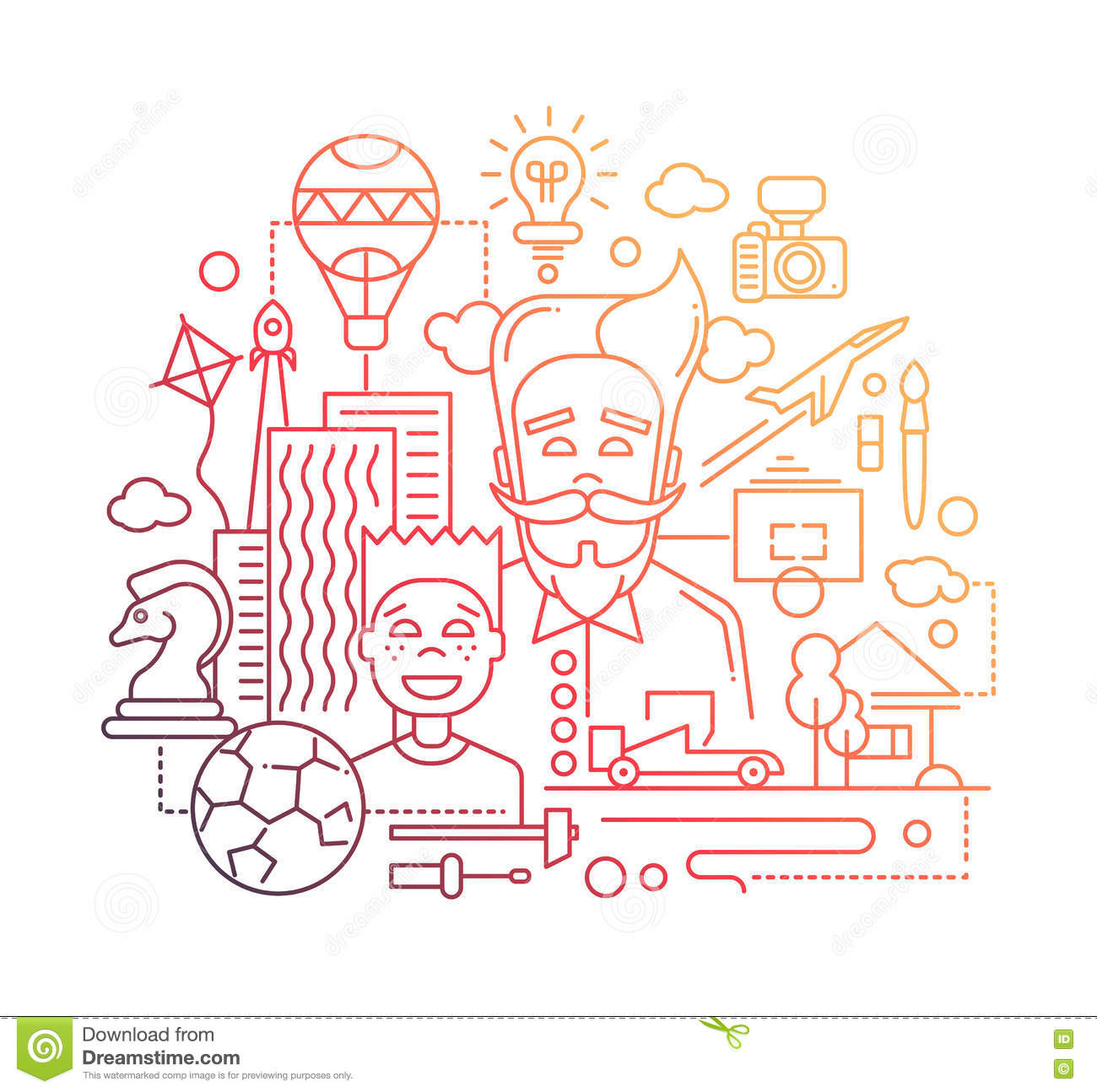 common interests hobbies father and son line design common interests hobbies father and son line design illustration