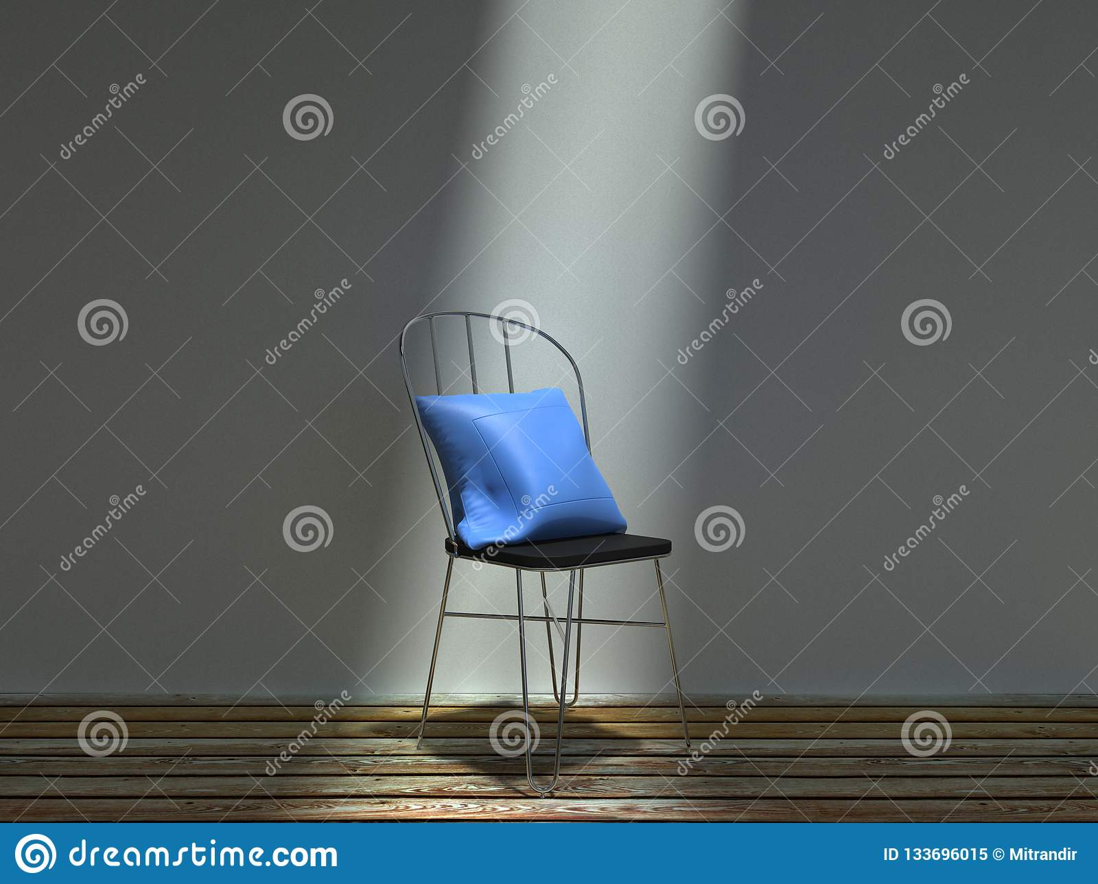 Common metal chair with blue cushion