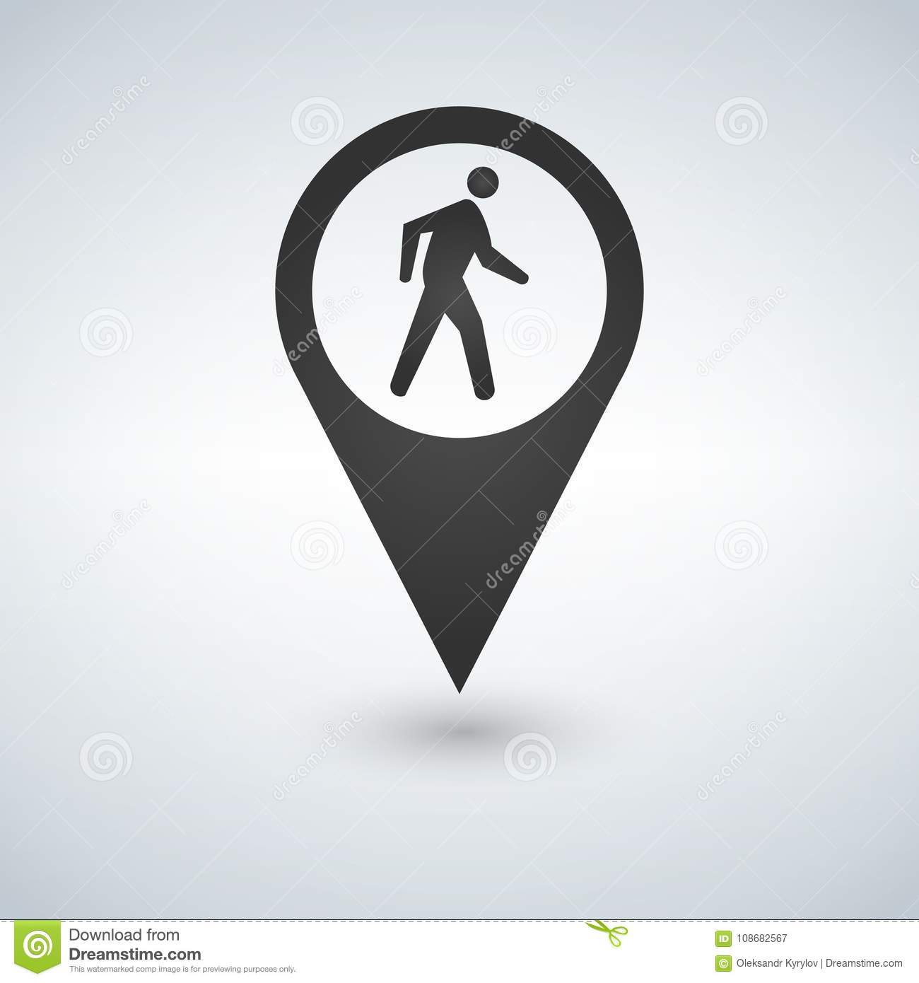 Common pedestrian icon. Man walking by foot map pointer. For maps, schemes, applications and infographics.