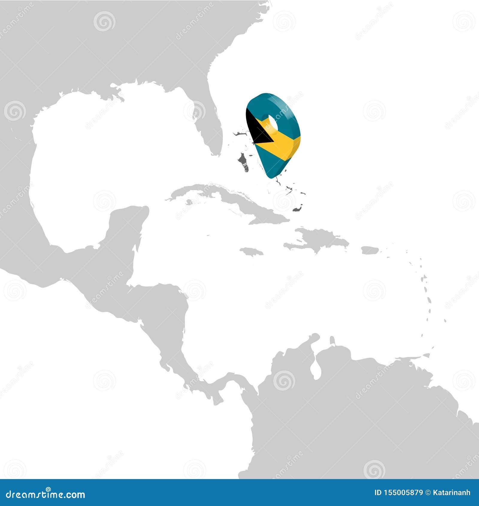 Commonwealth of the Bahamas lägeöversikt på översikten Central America för flaggaöversikt för 3d Bahamas stift för läge för markö