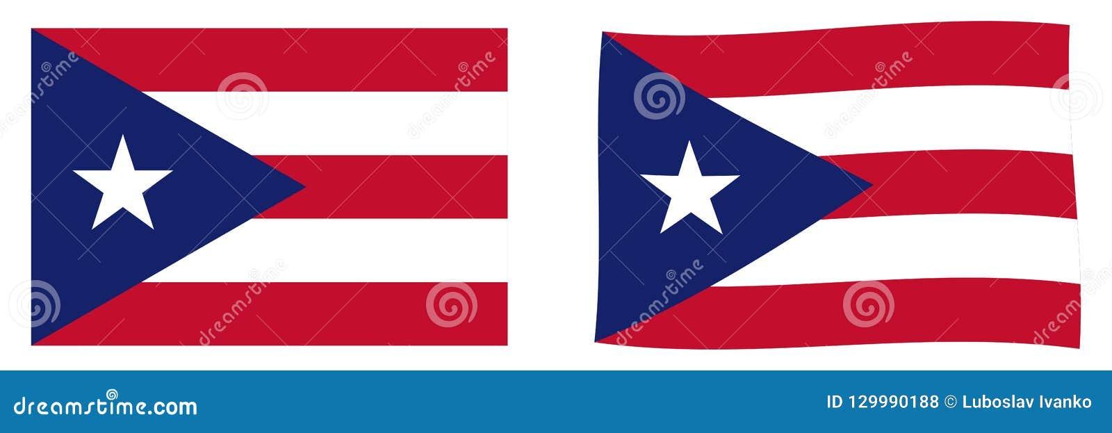 Commonwealth de drapeau de Puerto Rico Ver simple et ondulant légèrement