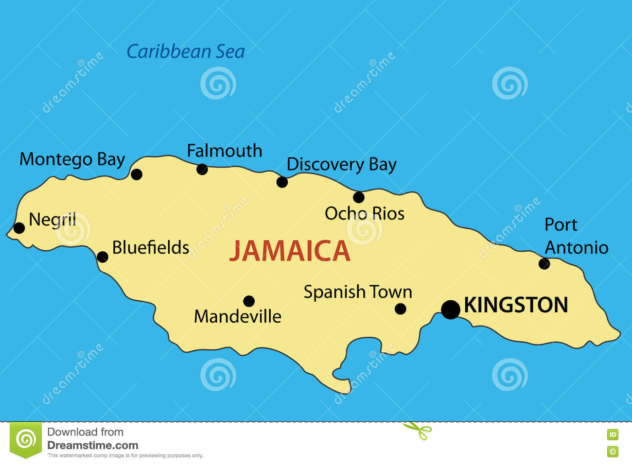 Commonwealth Of Jamaica - Map - Vector Stock Vector - Illustration ...