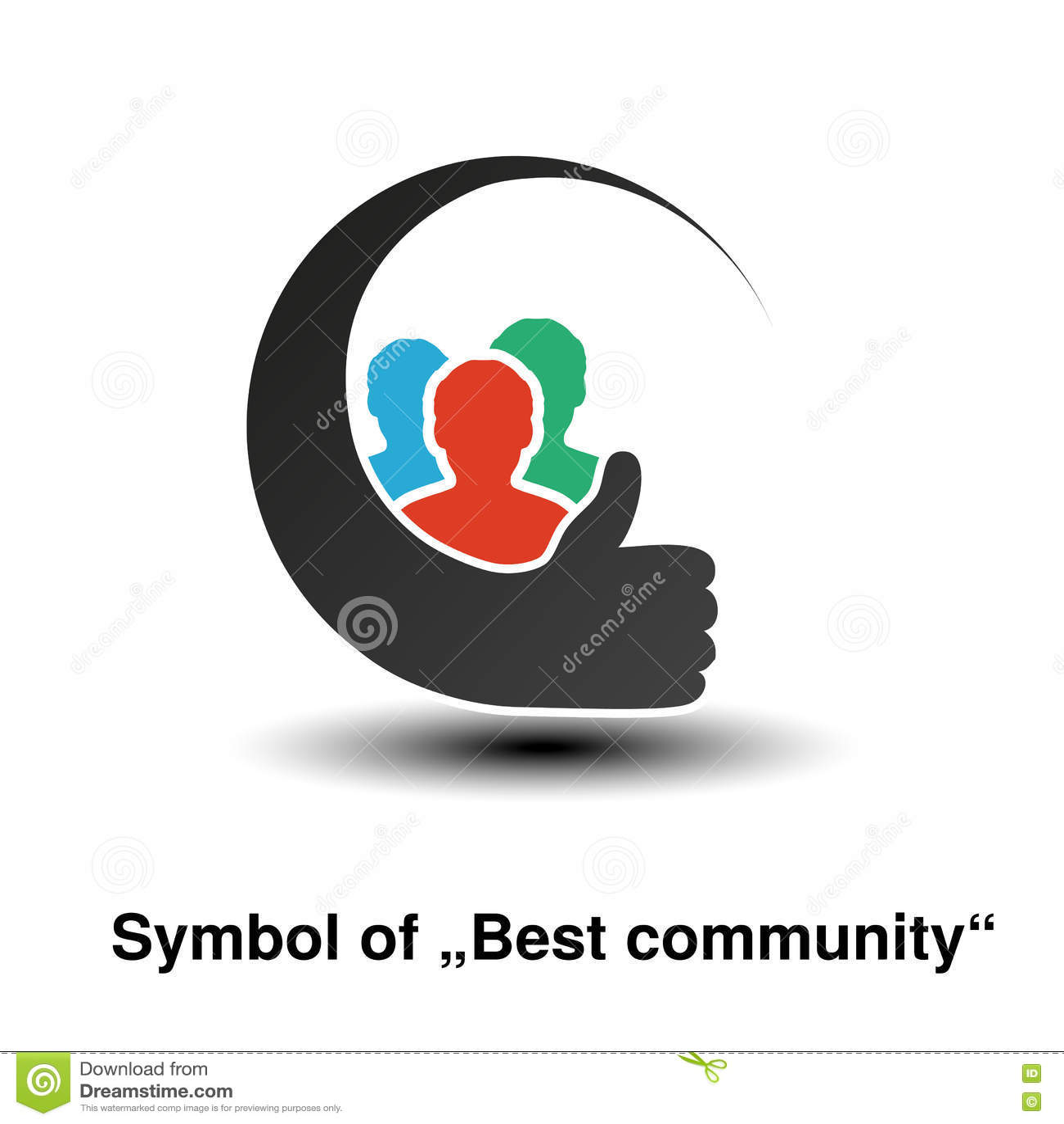 Communautaire symbolen Eenvoudige silhouetten van de mens met beste keusgebaar Profiel cirkeletiketten Teken van lid of gebruiker