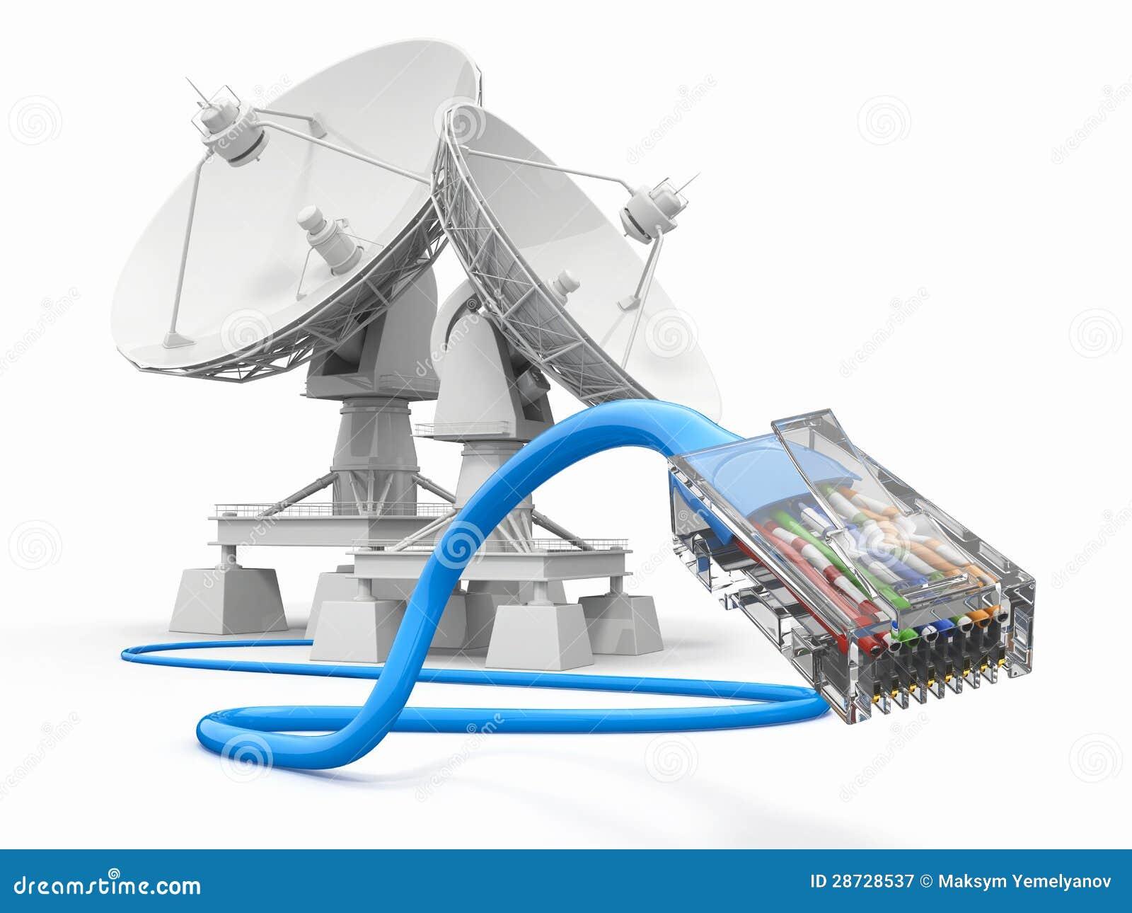 Communiation。 与电缆的卫星盘。