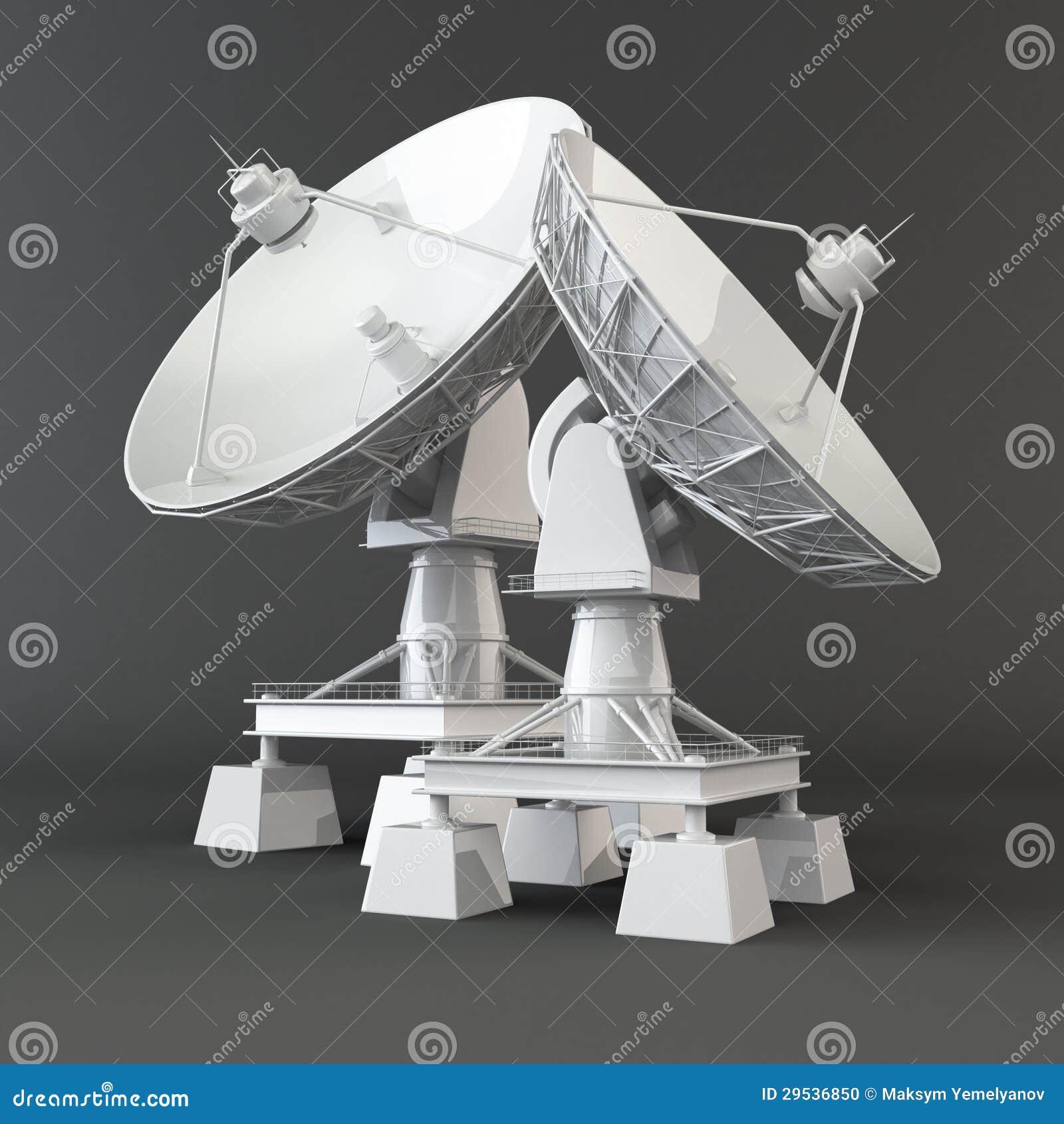 Communiation. Antena parabólica. 3d