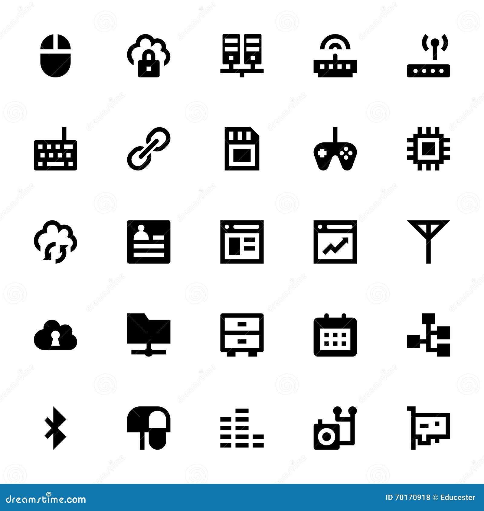 Communicatie Vectorpictogrammen 5 van Internet, van het Voorzien van een netwerk en