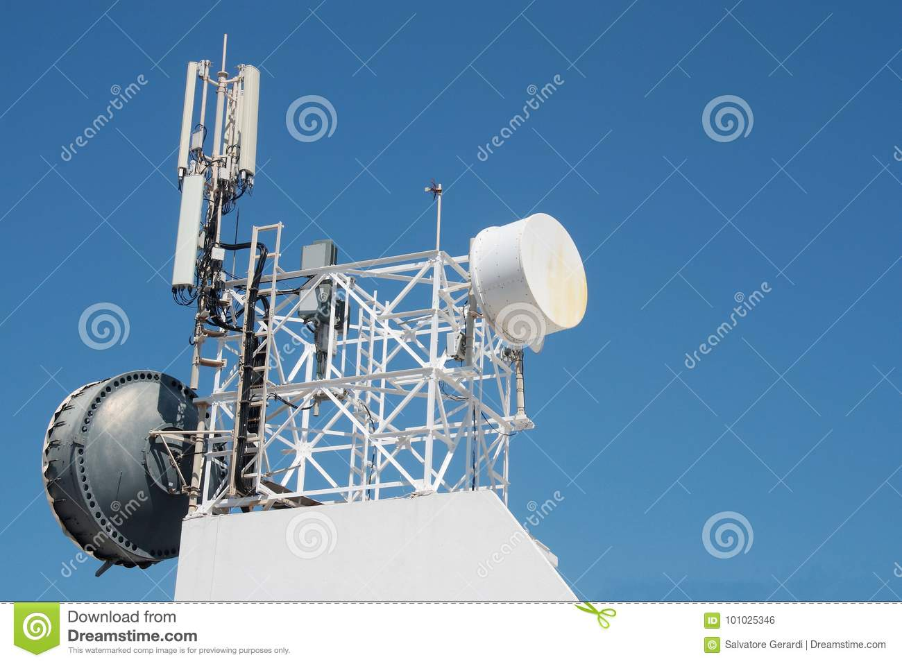 Communication Antenna Repeater Mounted On A Building Stock Photo