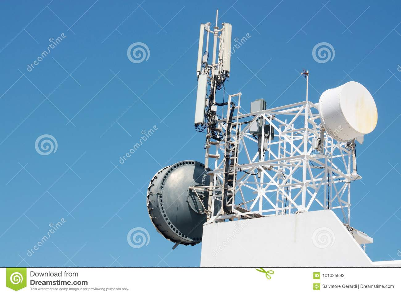 Communication Antenna Repeater Mounted On A Building Stock Image