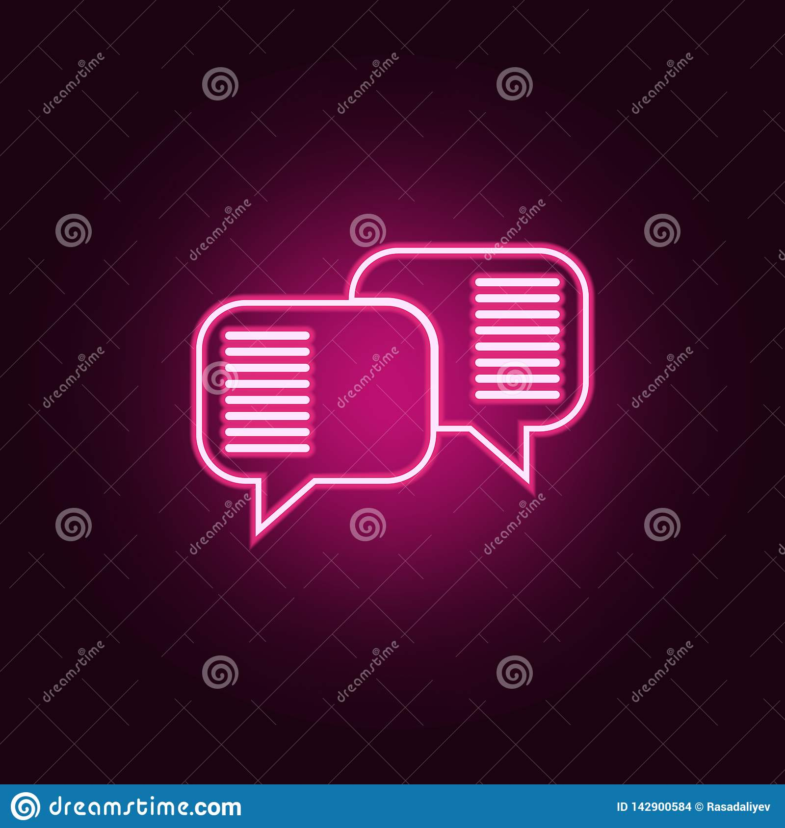 communication bubbles icon. Elements of Conversation and Friendship in neon style icons. Simple icon for websites, web design,