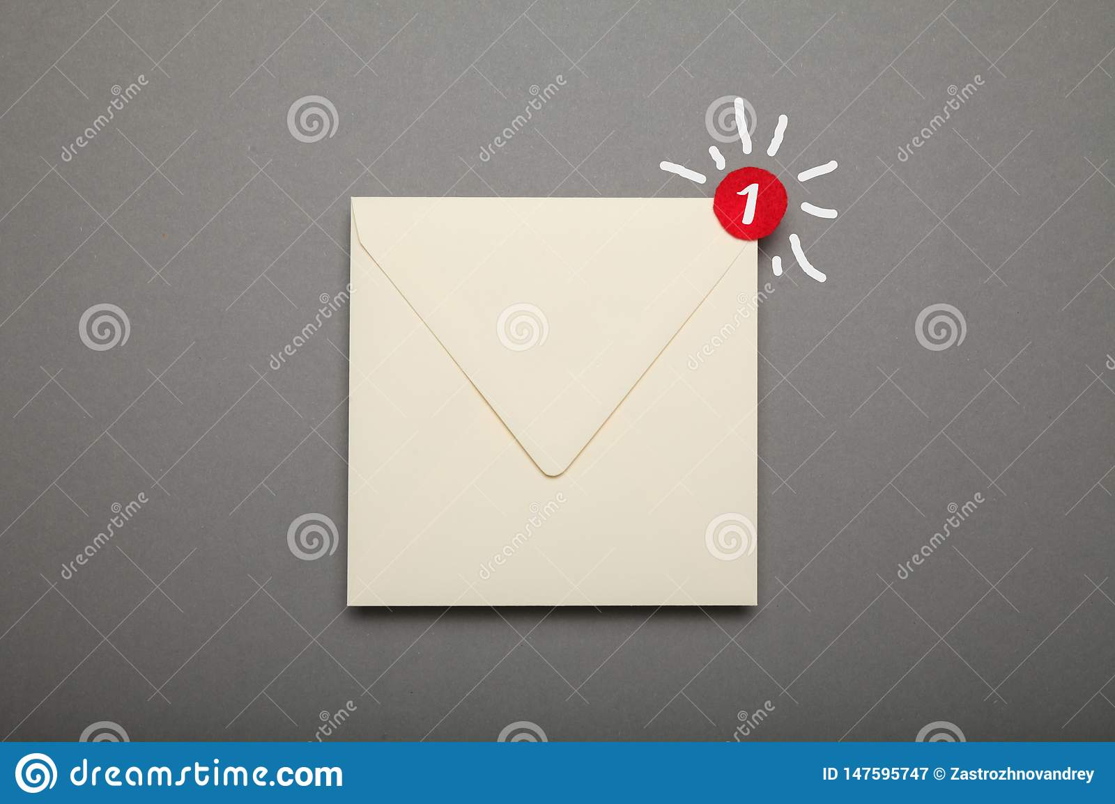 Communication correspondence email, red circle in corner. Exclamation, important envelope