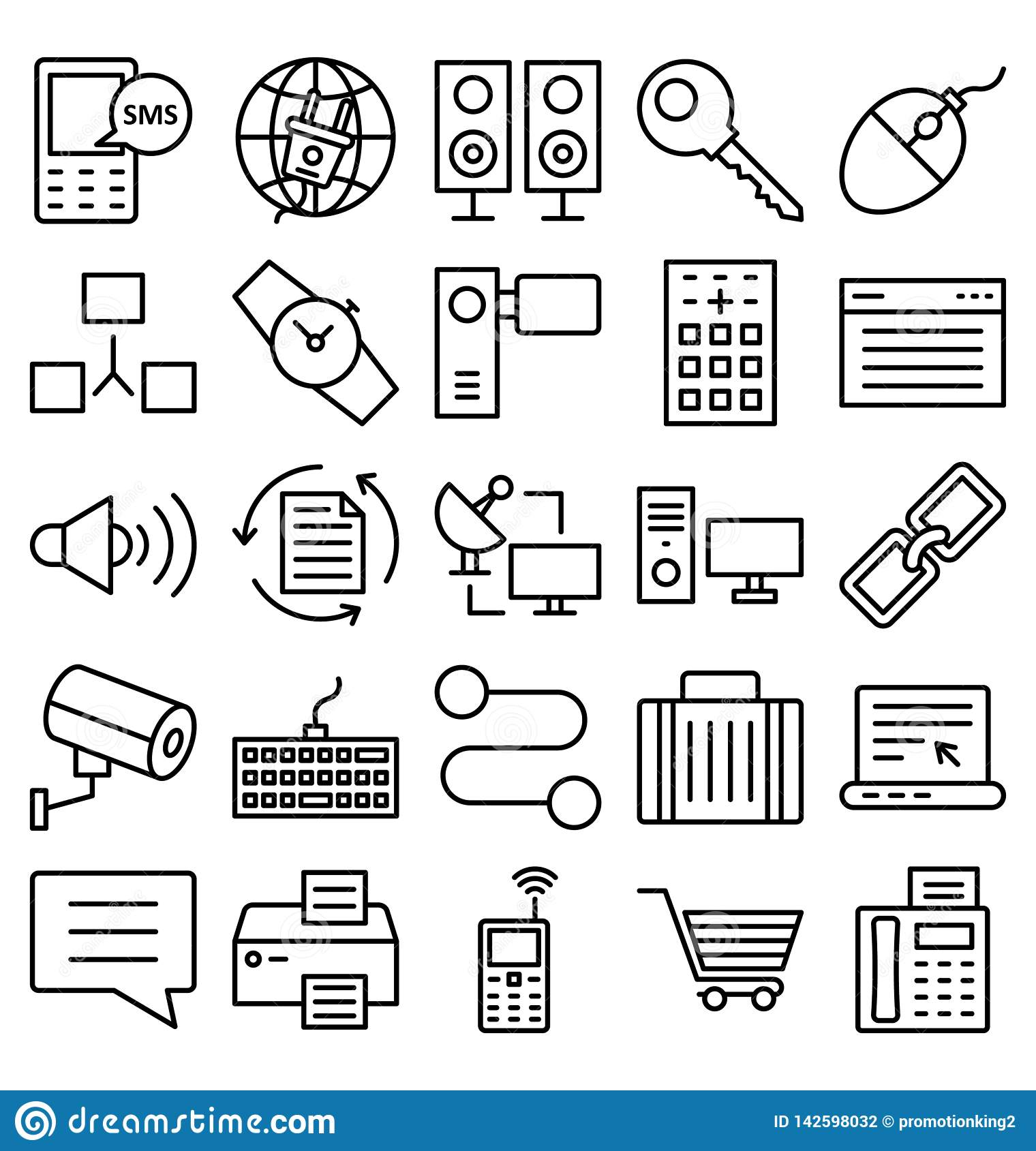 Communication and Digital Devices Isolated Vector Icons set that can be easily modified or edit