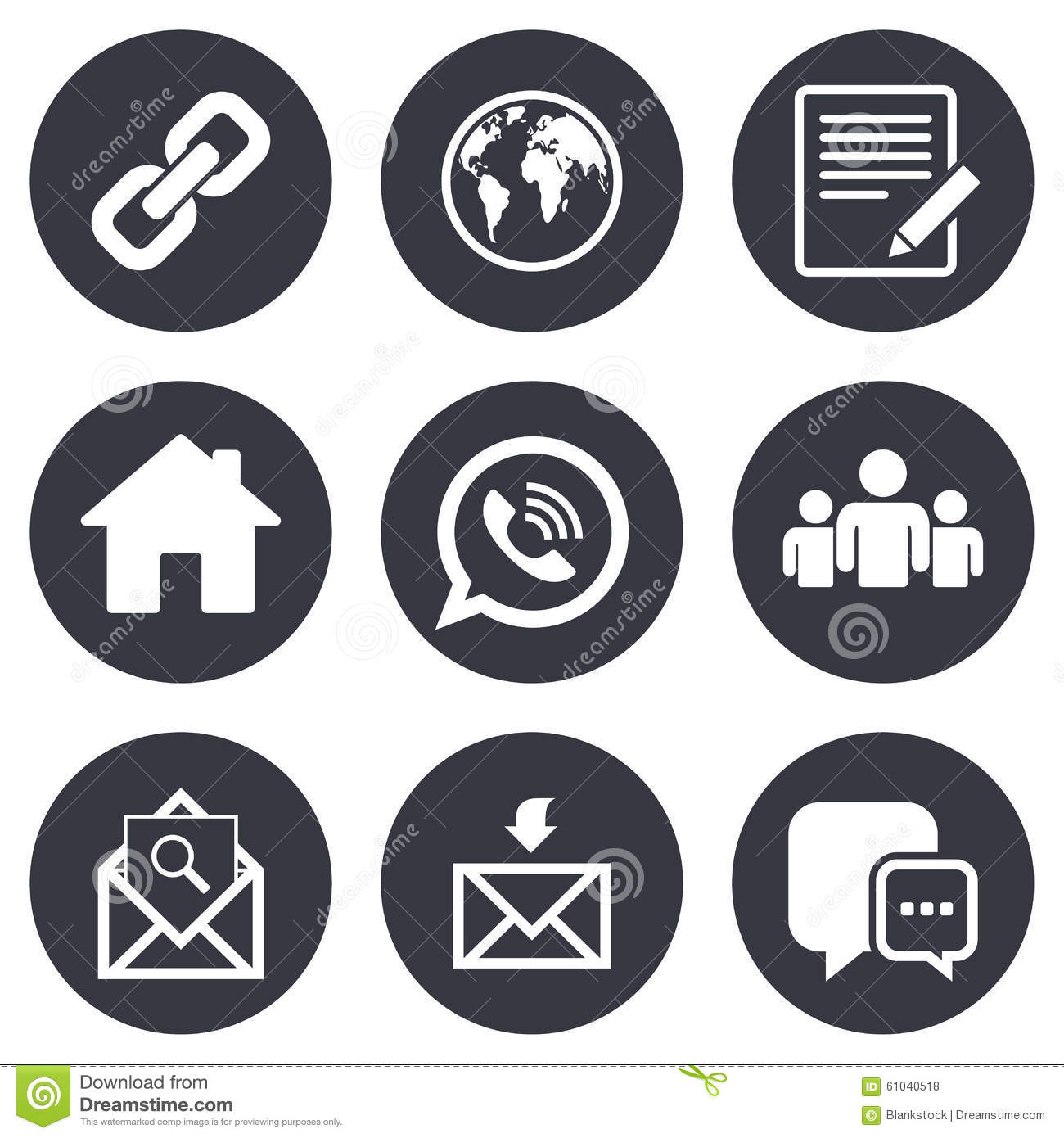 Communication Icons Contact Mail Signs Stock Vector Illustration