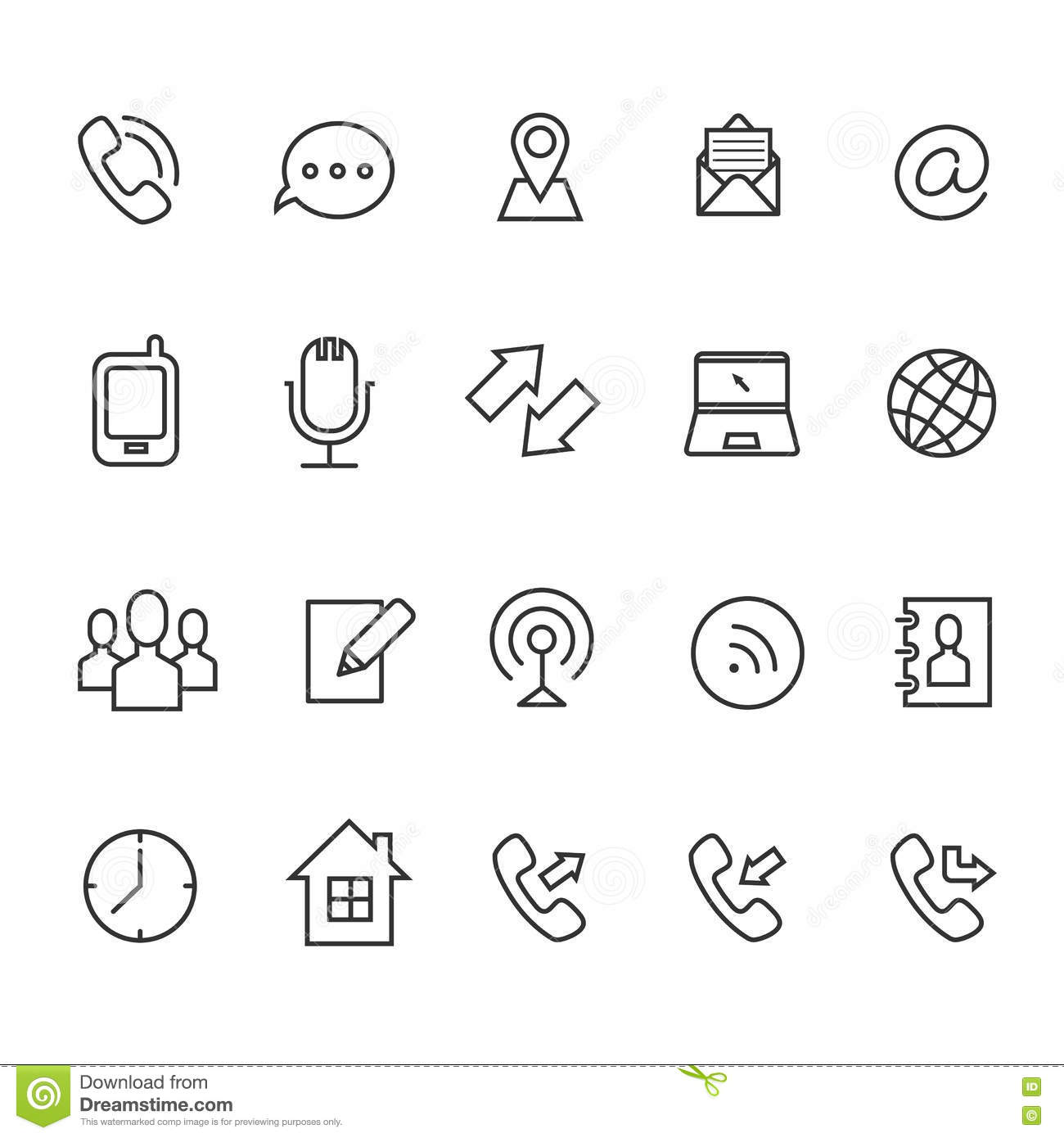 Communication Line Vector Icons For Business Card Stock Vector