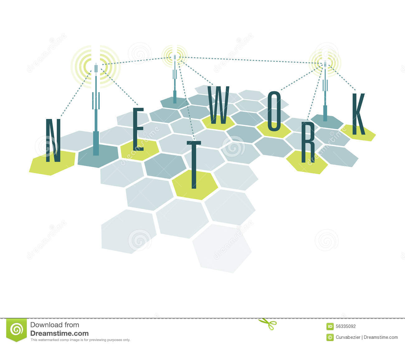 communication network cells with letters stock vector. Black Bedroom Furniture Sets. Home Design Ideas