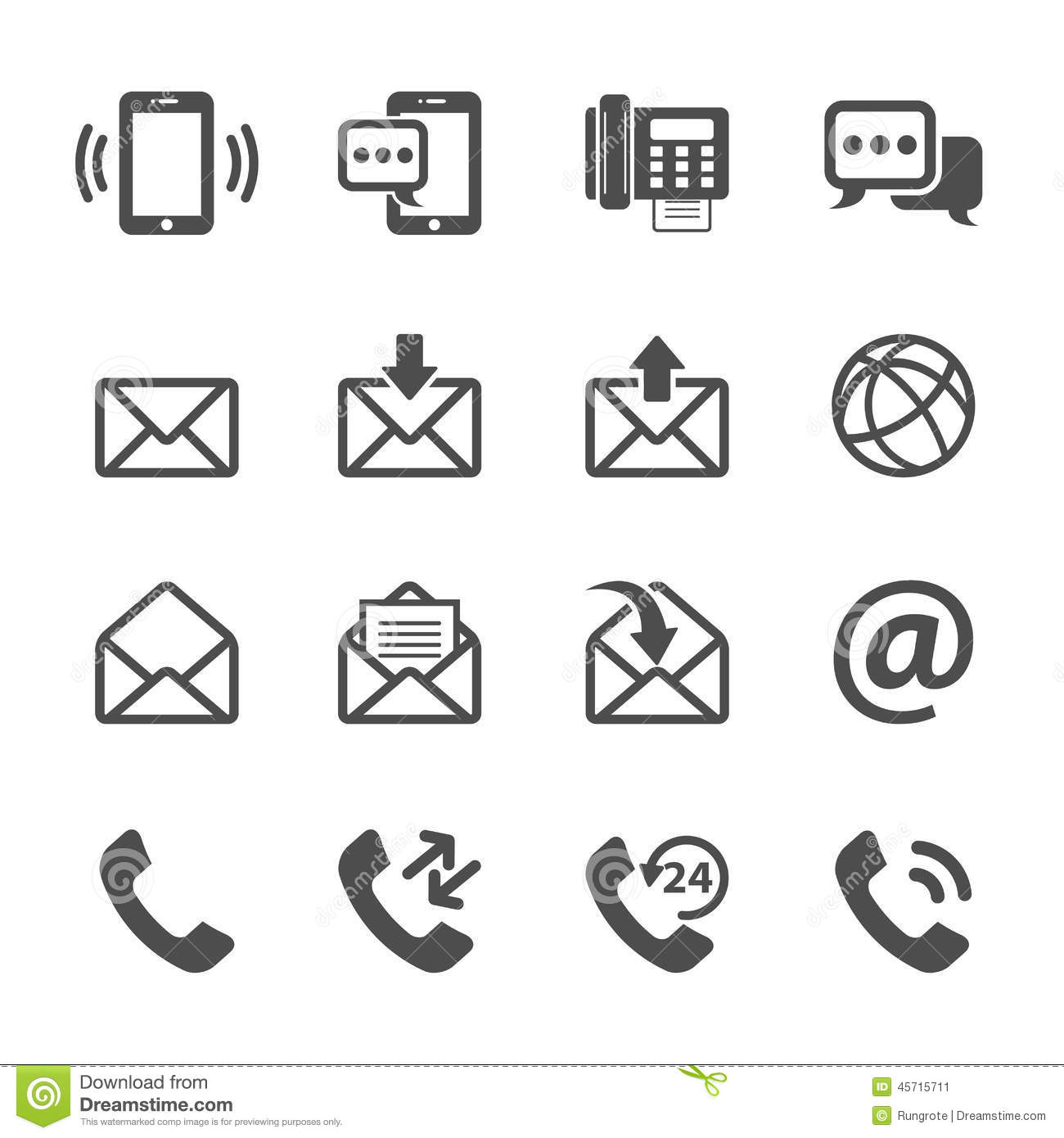 Communication Of Phone And Email Icon Set Vector Eps10 Illustration