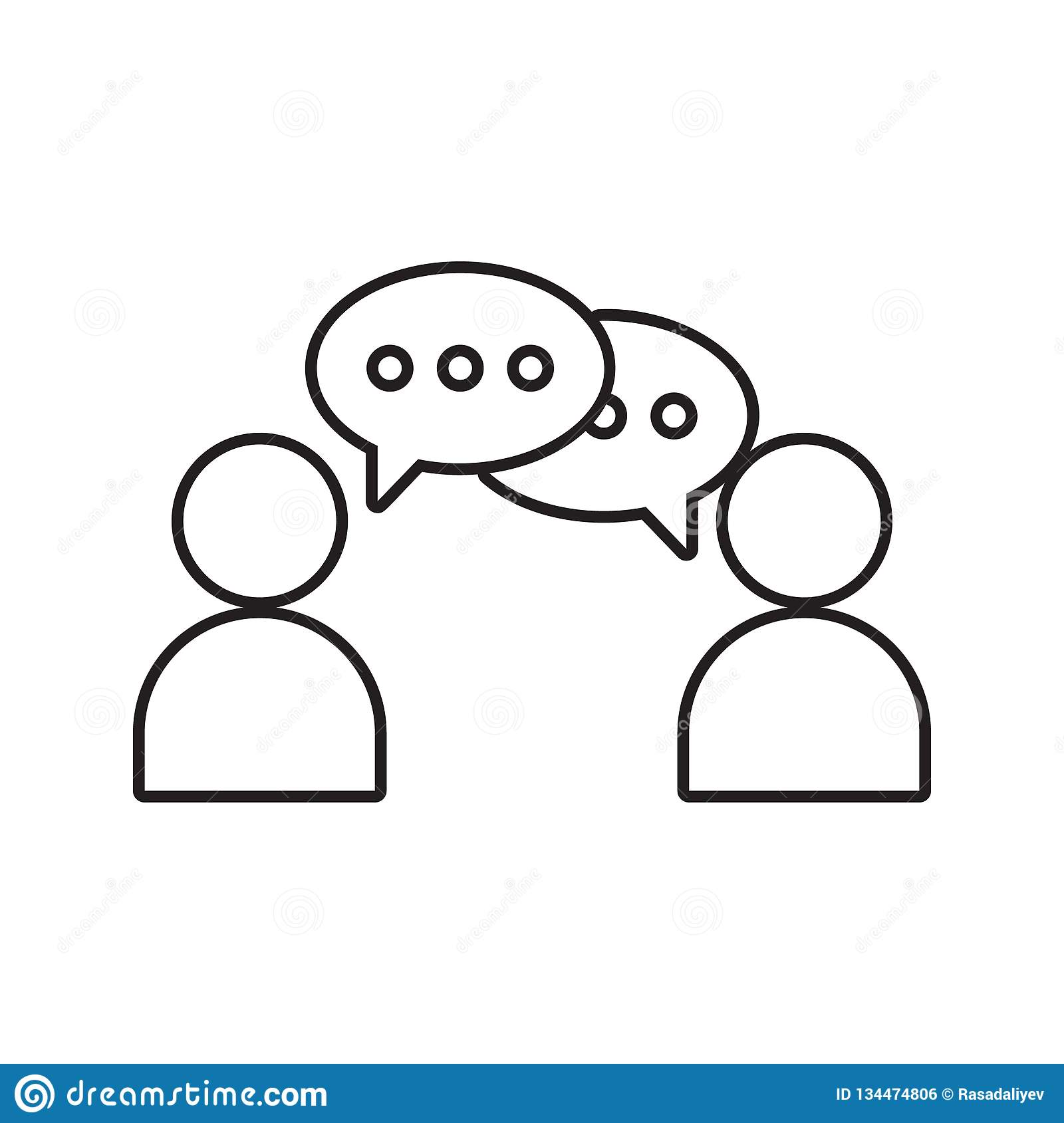 Communication between two people icon. Element of cyber security for mobile concept and web apps icon. Thin line icon for website. Design and development, app stock illustration