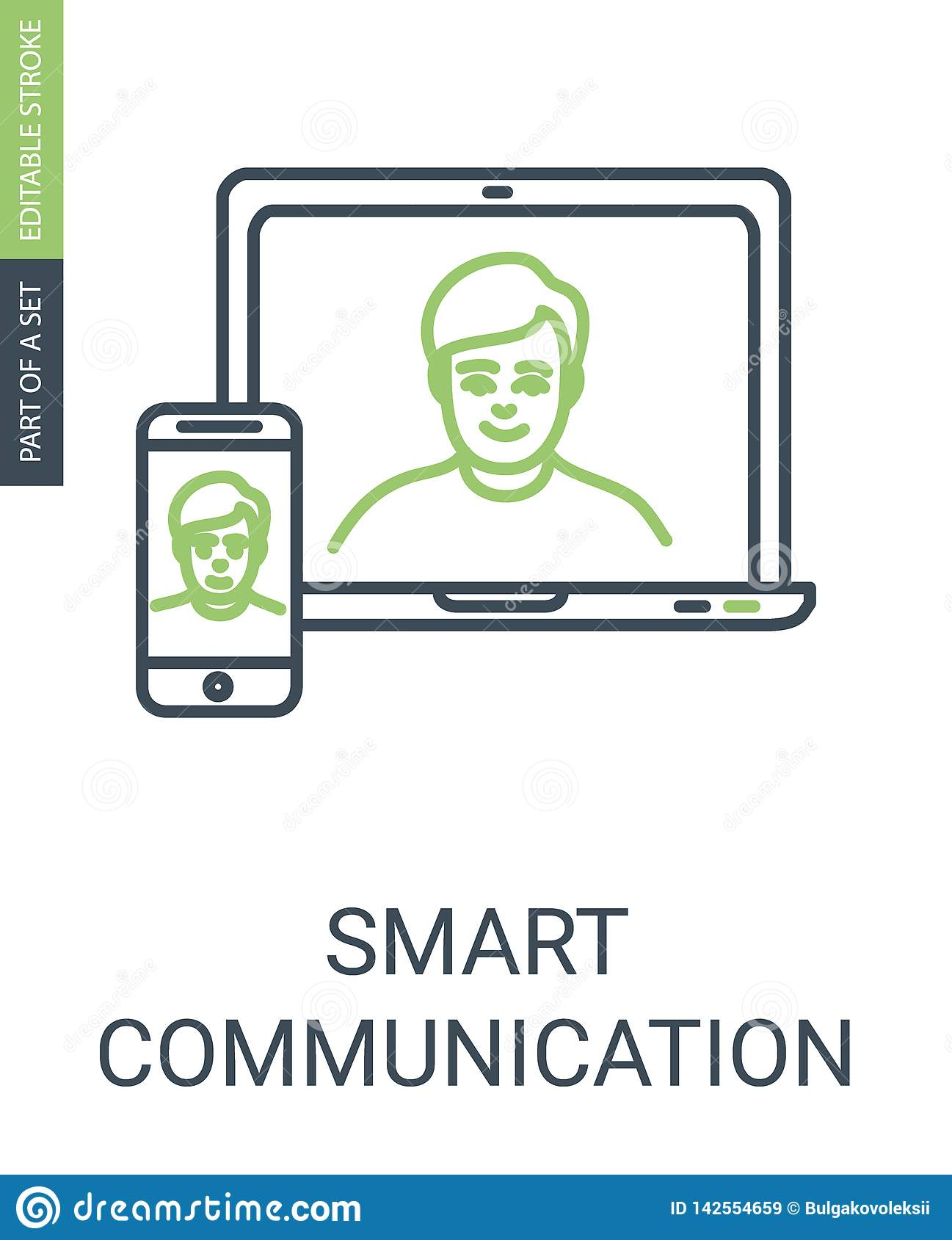 Communication Vector Icon with Laptom and Phone